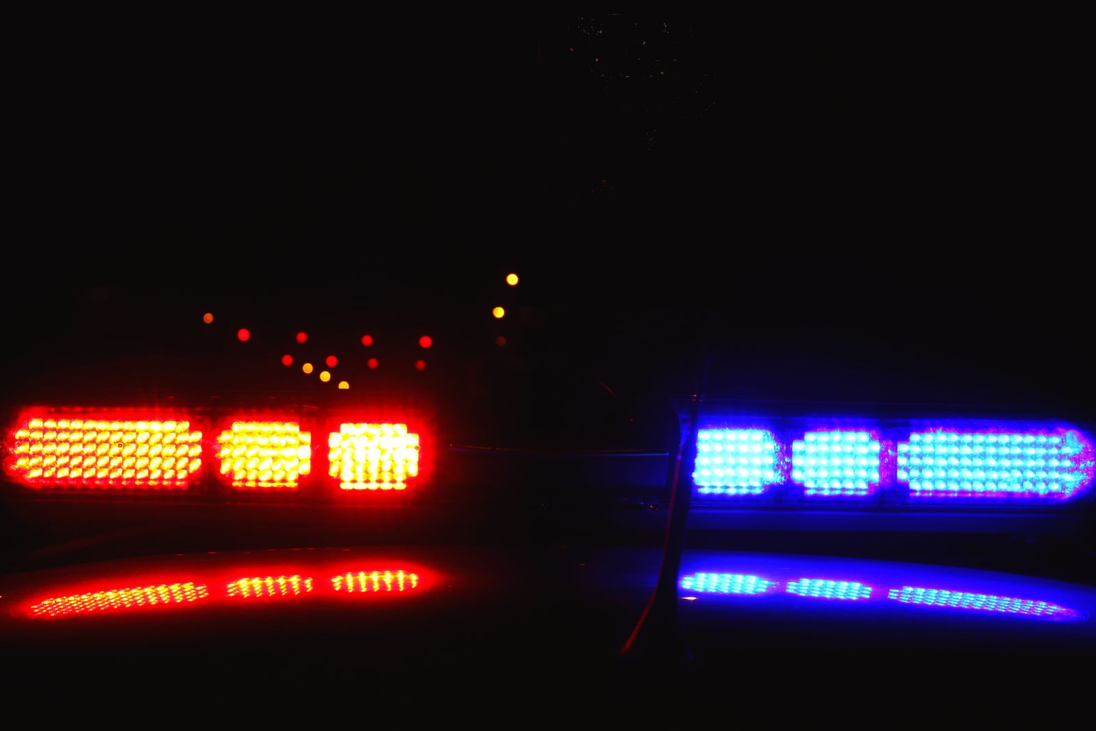 A close-up photo of police lights by night. (Getty Images)