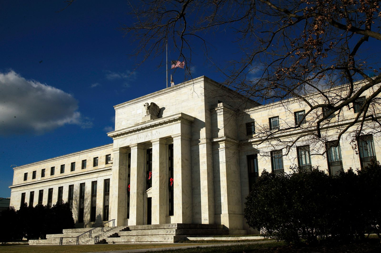 FILE - This Dec. 24, 2018, file photo shows the Federal Reserve building during a partial government shutdown in Washington. (AP Photo/Manuel Balce Ceneta, File)