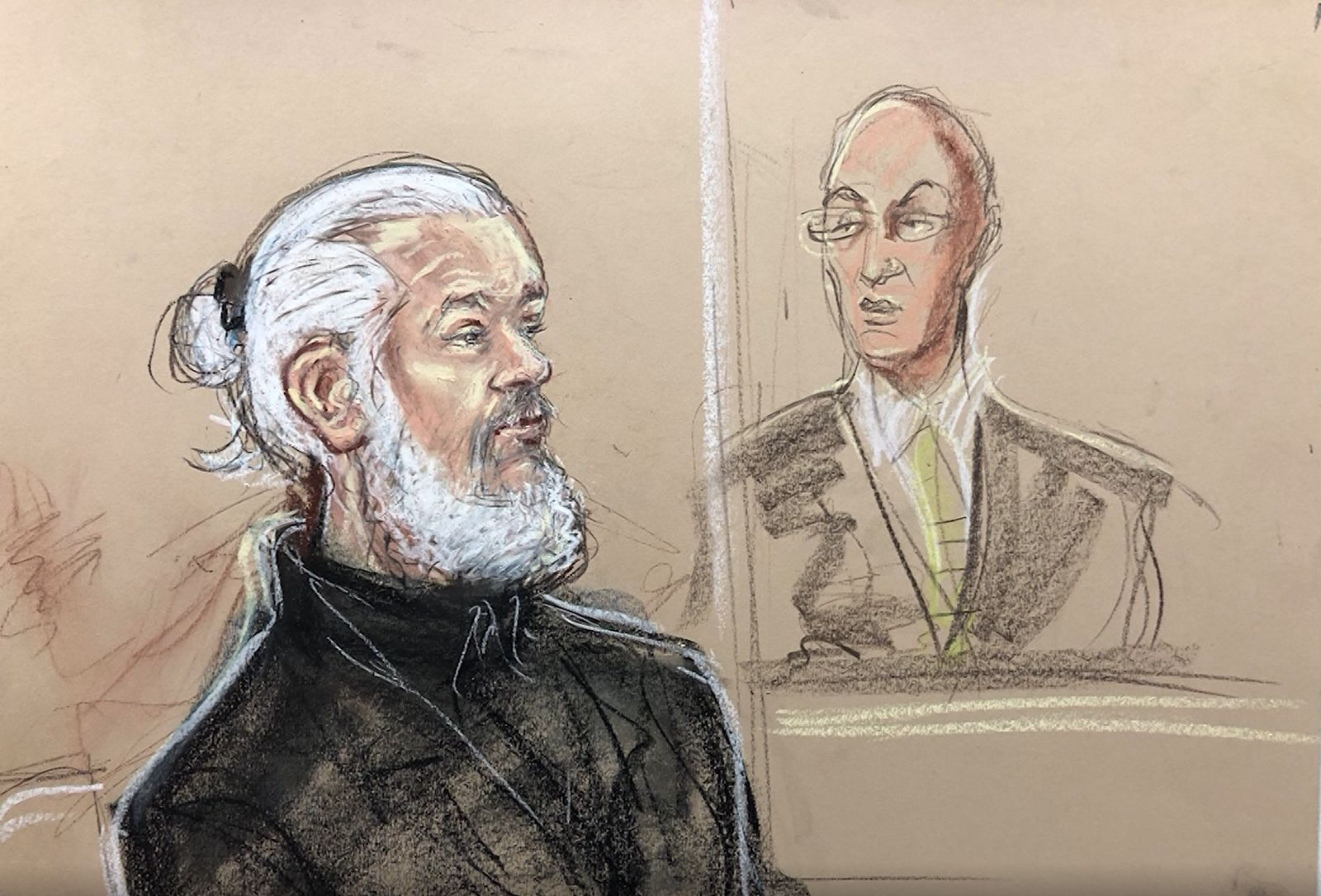 A sketch of Julian Assange in court in London on Apr. 11, 2019 after his arrest at the Ecuadorian embassy. (Priscilla Coleman, MB Media/CNN Newsource)<p></p>