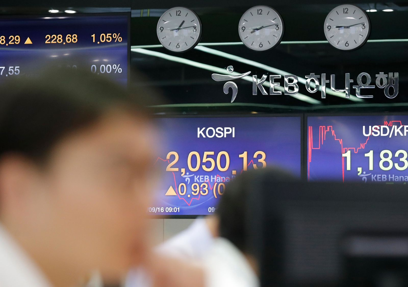 A currency trader watches the computer monitors near the screens showing the Korea Composite Stock Price Index (KOSPI), center, and the foreign exchange rate between U.S. dollar and South Korean won at the foreign exchange dealing room in Seoul, South Korea, Monday, Sept. 16, 2019.{ } (AP Photo/Lee Jin-man)