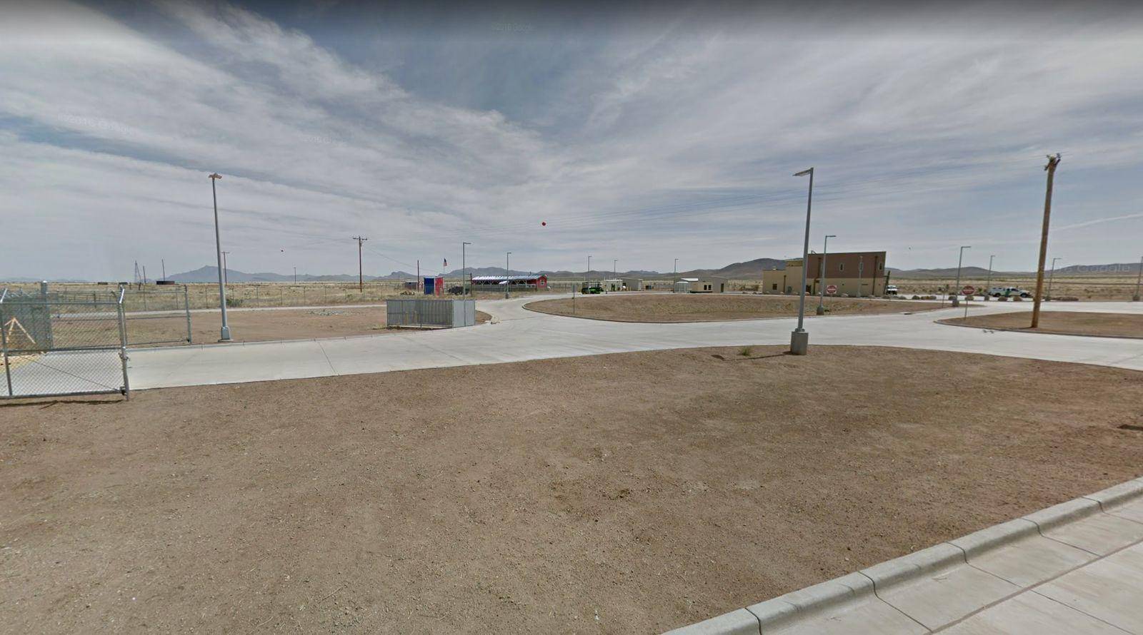 This photo shows the Antelope Wells port of entry in southwestern New Mexico. The facility reportedly has limited resources and scarce infrastructure. It is located approximately 95 miles south of the Lordsburg Border Patrol Station. (Credit: Google Maps)