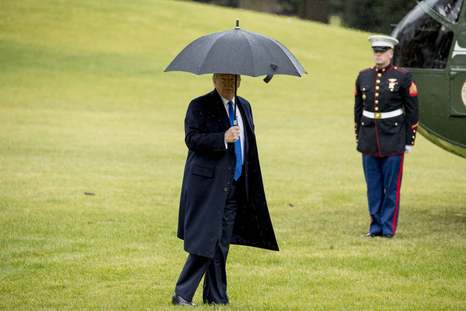 President Donald Trump walks to Marine One on the south Lawn of the White House in Washington, Monday, Dec. 2, 2019. (AP Photo/Andrew Harnik)