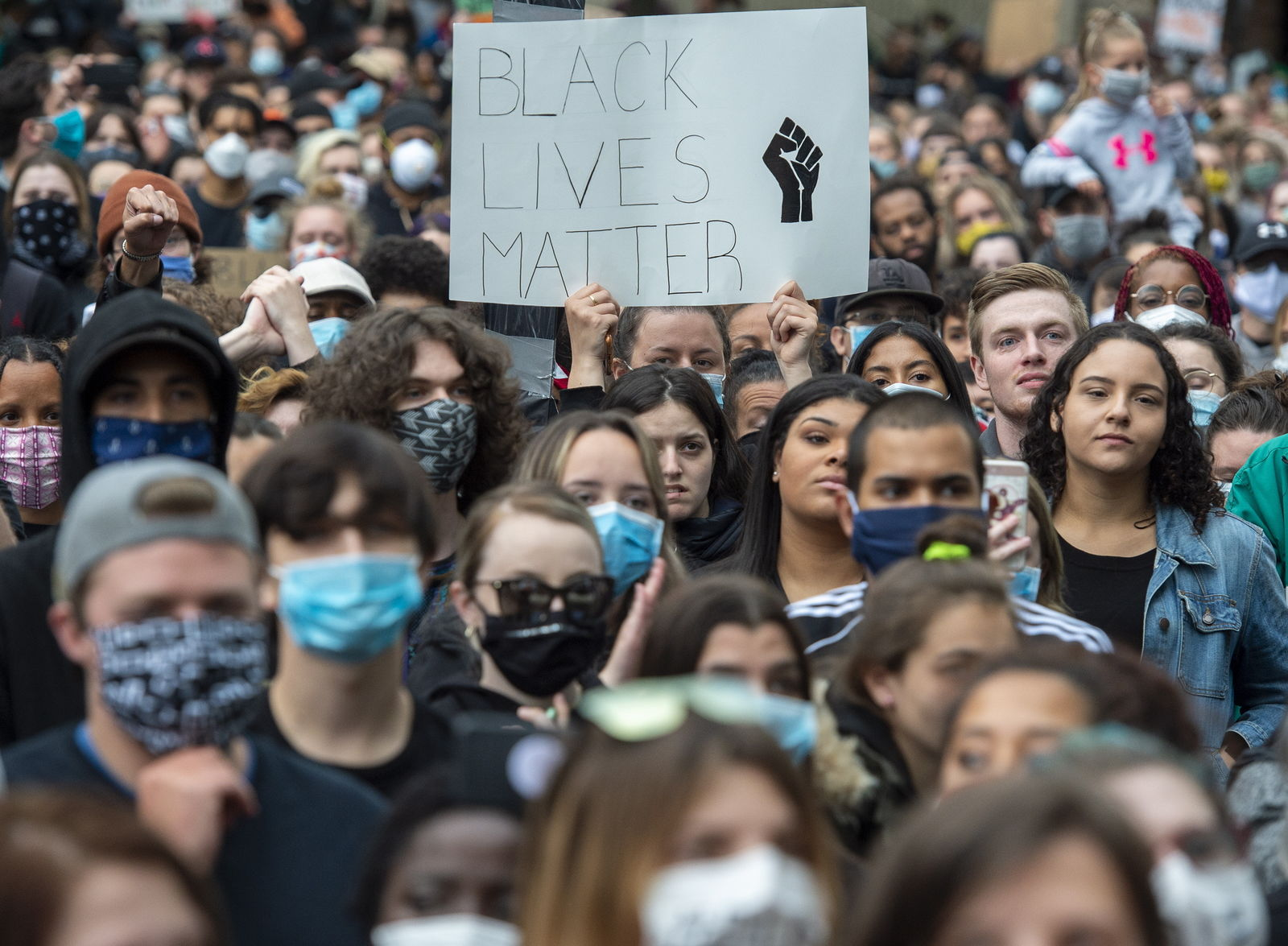 Protesters demonstrate against police action in the death of George Floyd and others in Halifax, Nova Scotia on Monday, June 1, 2020. (Andrew Vaughan/The Canadian Press via AP)