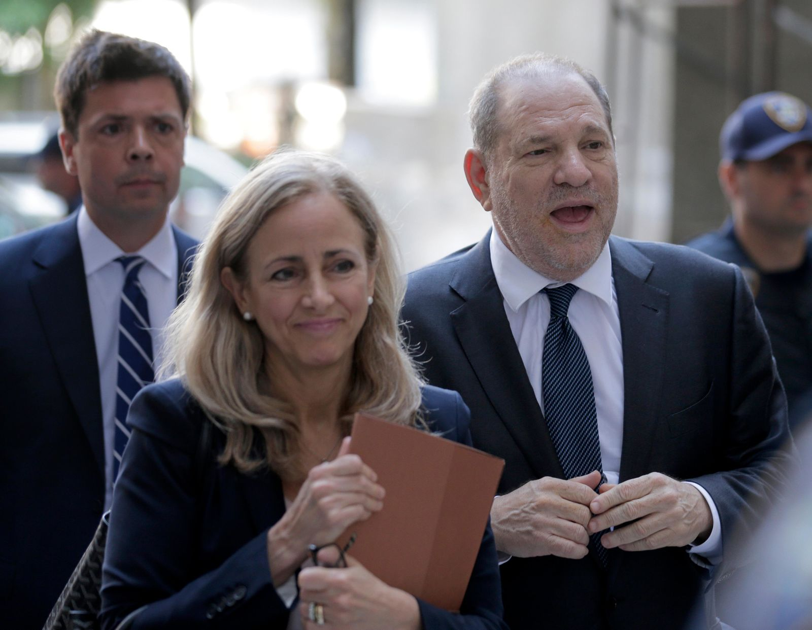 Harvey Weinstein, right, arrives at court for a hearing in his sexual assault case, Thursday, July 11, 2019,  in New York. (AP Photo/Seth Wenig)