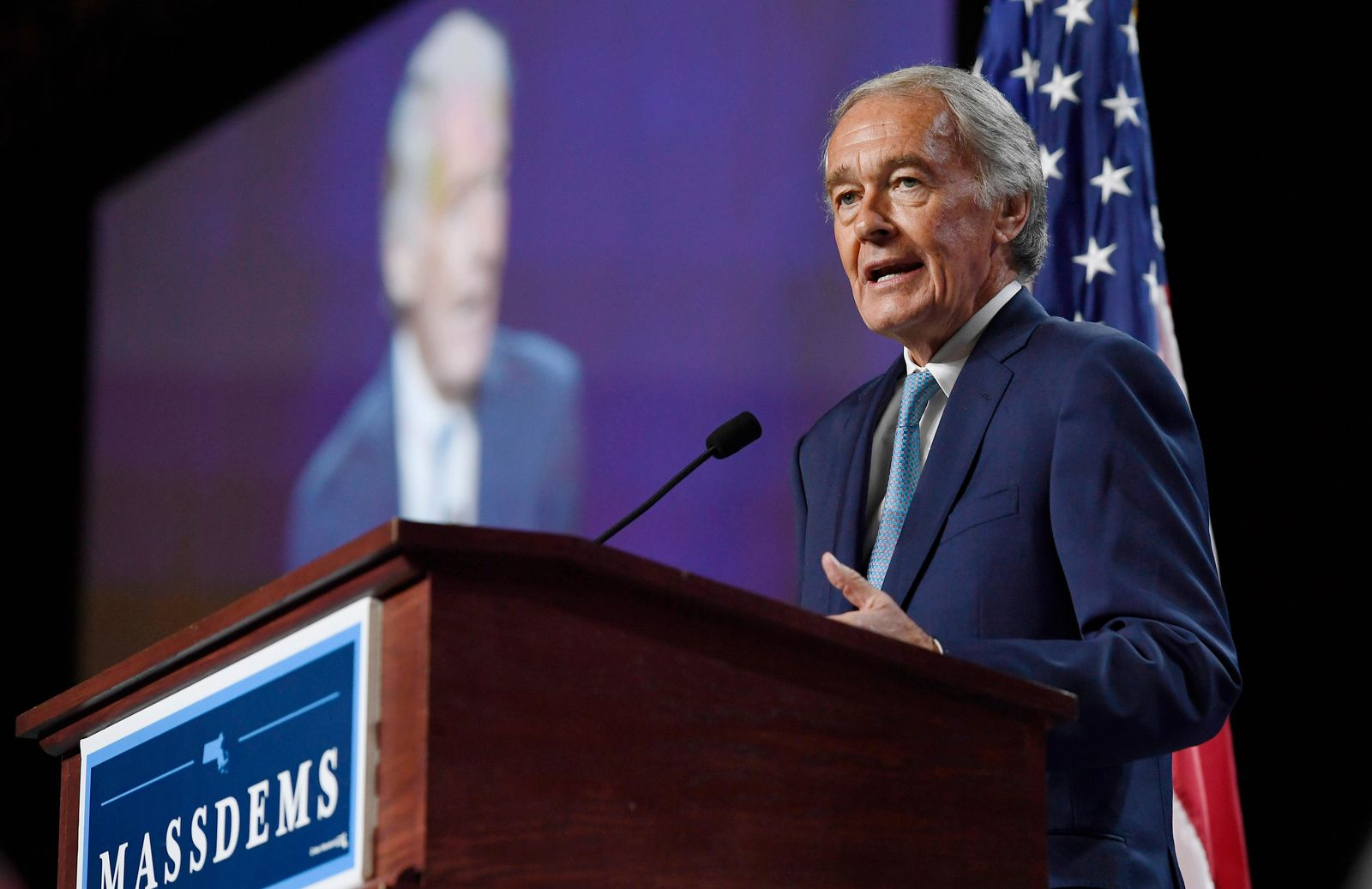 FILE - In this Saturday, Sept. 14, 2019 file photo, U.S. Sen. Edward Markey speaks to delegates during the 2019 Massachusetts Democratic Party Convention, in Springfield, Mass. U.S. Rep. Joseph Kennedy III plans to announce on Saturday, Sept. 21, that he will challenge Markey in the 2020 Democratic primary. (AP Photo/Jessica Hill, File)