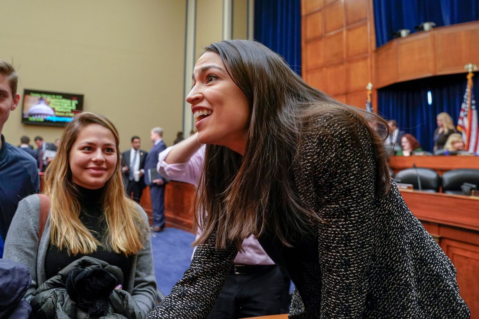 Rep. Alexandria Ocasio-Cortez, D-N.Y., speaks to visiting students following a House Oversight and Reform Committee meeting, on Capitol Hill in Washington, Tuesday, Feb. 26, 2019.{ } (AP Photo/J. Scott Applewhite)