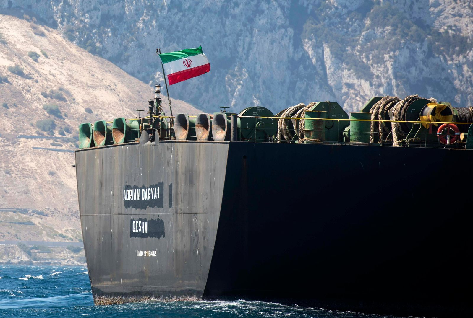 Renamed Adrian Aryra 1 super tanker hosting an Iranian flag, sails in the British territory of Gibraltar, Sunday, Aug. 18, 2019. (AP Photo/Marcos Moreno)