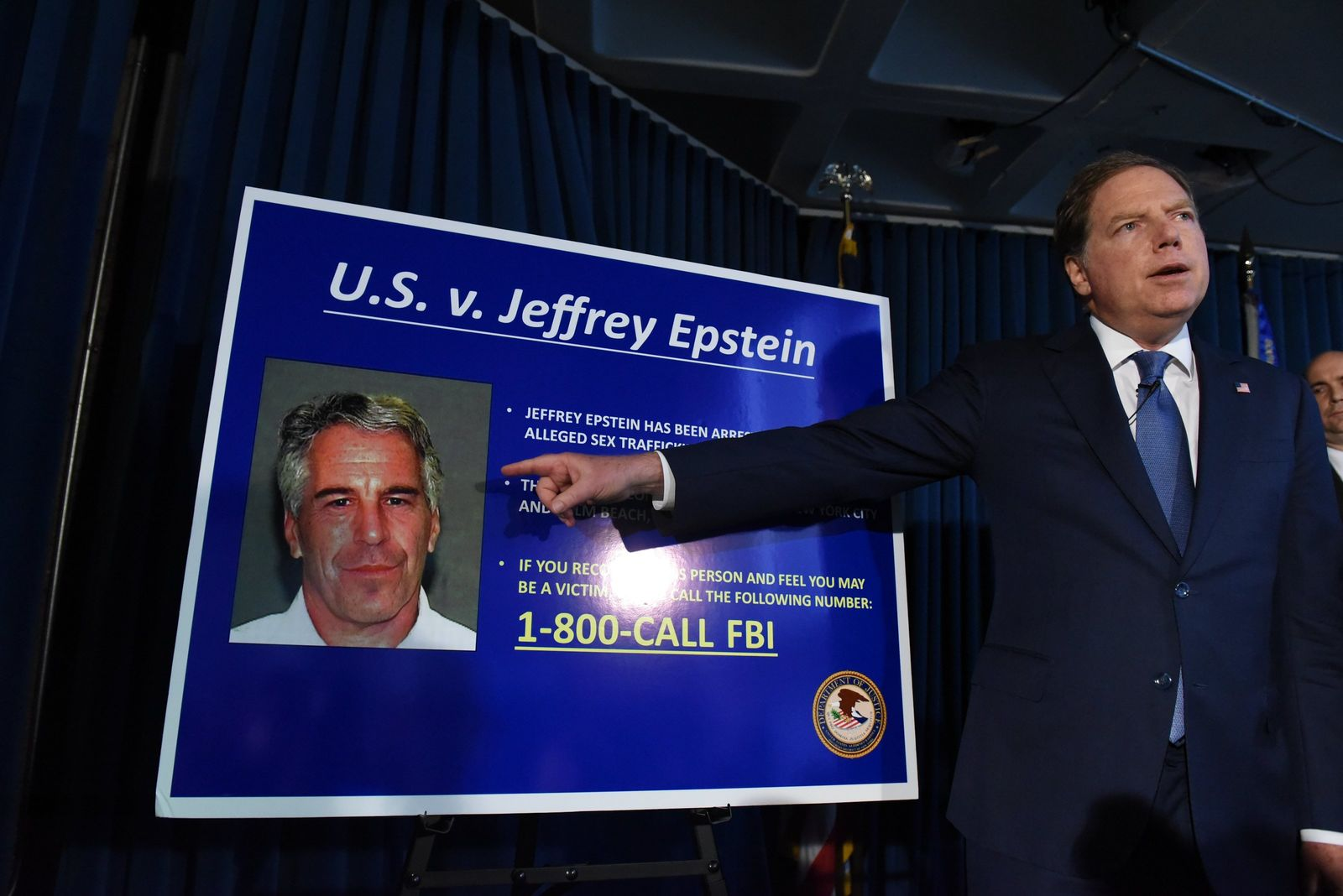 US Attorney for the Southern District of New York Geoffrey Berman announces charges against Jeffery Epstein on July 8, 2019, in New York City.