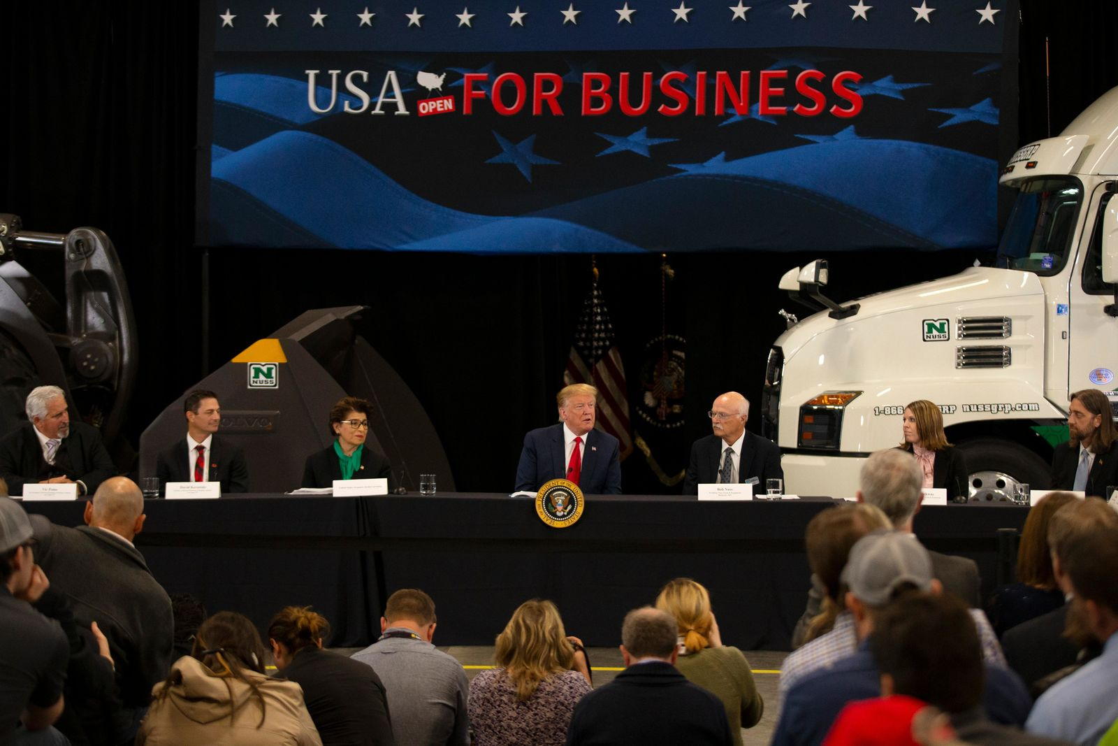 President Donald Trump speaks at Nuss Truck and Equipment Monday, April 15, 2019, in Burnsville, Minn. (AP Photo/Andy Clayton-King)