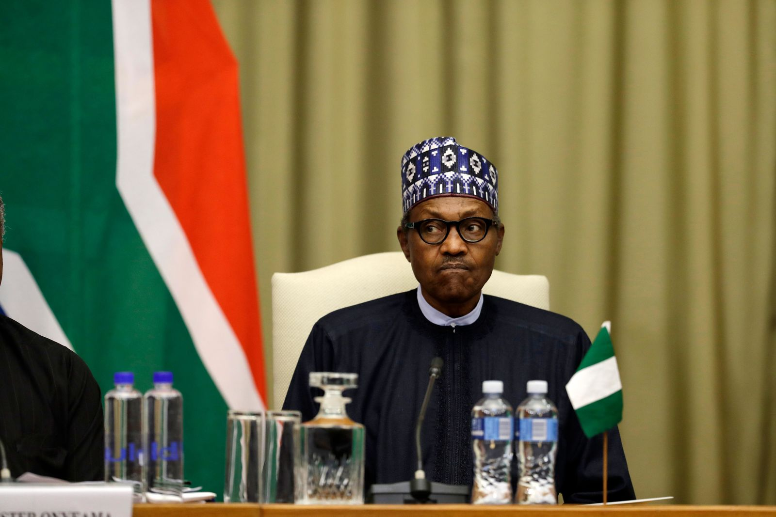 Nigerian President Muhammadu Buhari attends a meeting with South Africa's President, Cyril Ramaphosa, after a welcoming ceremony in Pretoria, South Africa Thursday, Oct. 3, 2019. (AP Photo/Themba Hadebe)