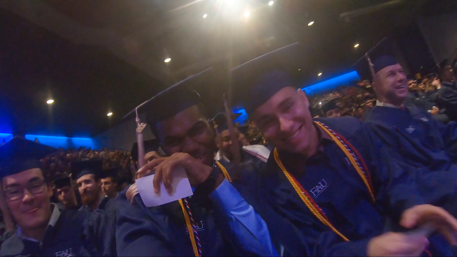 Graduates, faculty and staff passed around a GoPro during FAU's 2019 Fall Commencement Ceremony. (Florida Atlantic University)