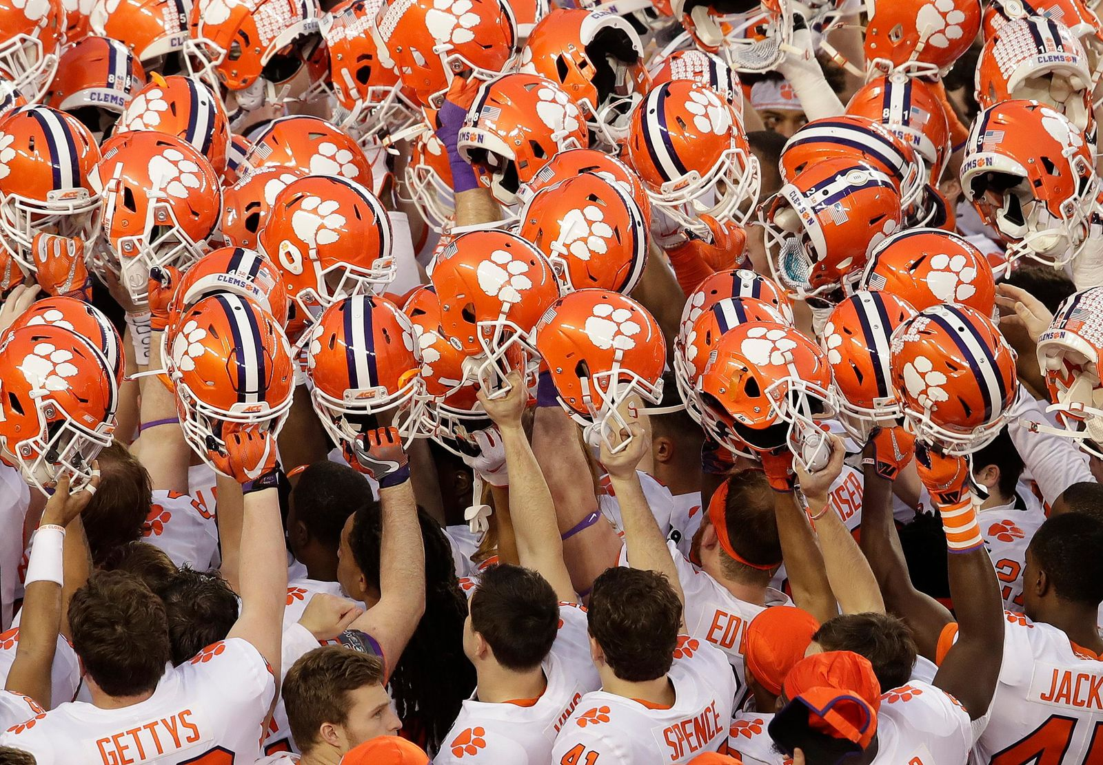 FILE - In this Jan. 7, 2019, file photo, Clemson players huddle before the NCAA college football playoff championship game against Alabama, in Santa Clara, Calif. For the first time, the defending national champion Tigers are No. 1 in The Associated Press preseason Top 25 presented by Regions Bank, Monday, Aug. 19, 2019. (AP Photo/Jeff Chiu, File)