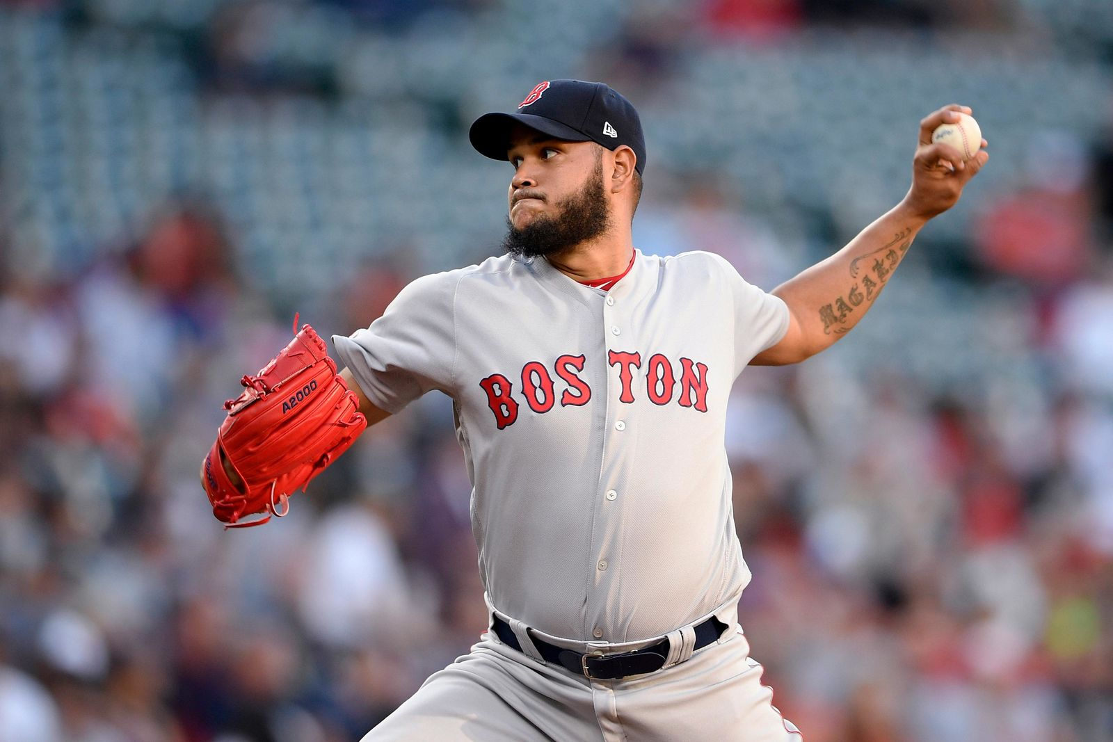 Boston Red Sox starting pitcher Eduardo Rodriguez delivers a pitch during the first inning of the team's baseball game against the Baltimore Orioles, Friday, June 14, 2019, in Baltimore. (AP Photo/Nick Wass)