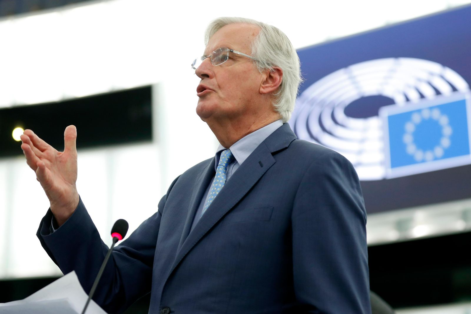 European Union chief Brexit negotiator Michel Barnier delivers his speech Tuesday, Oct. 22, 2019 at the European Parliament in Strasbourg, eastern France.{ } (AP Photo/Jean-Francois Badias)