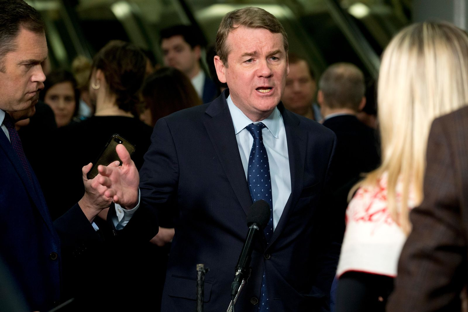 Sen. Michael Bennet, D-Colo., speaks to the media on Capitol Hill in Washington, Thursday, Jan. 23, 2020. (AP Photo/Jose Luis Magana)