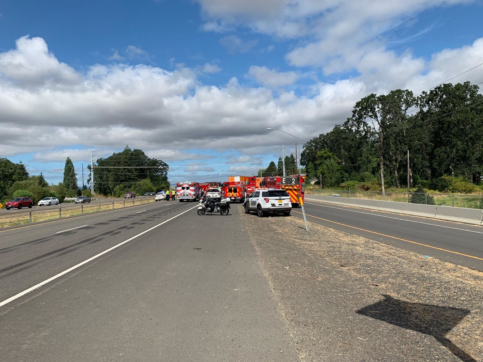 Crash on Hwy 26 WB at Helvetia Road interchange. (Photo: Washington County Sheriff's Office)