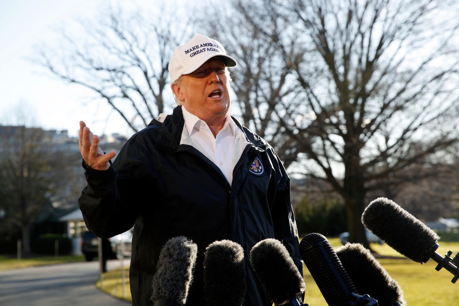 President Donald Trump speaks to the media as he leaves the White House, Thursday Jan. 10, 2019, in Washington, en route for a trip to the border in Texas as the government shutdown continues. (AP Photo/Jacquelyn Martin)