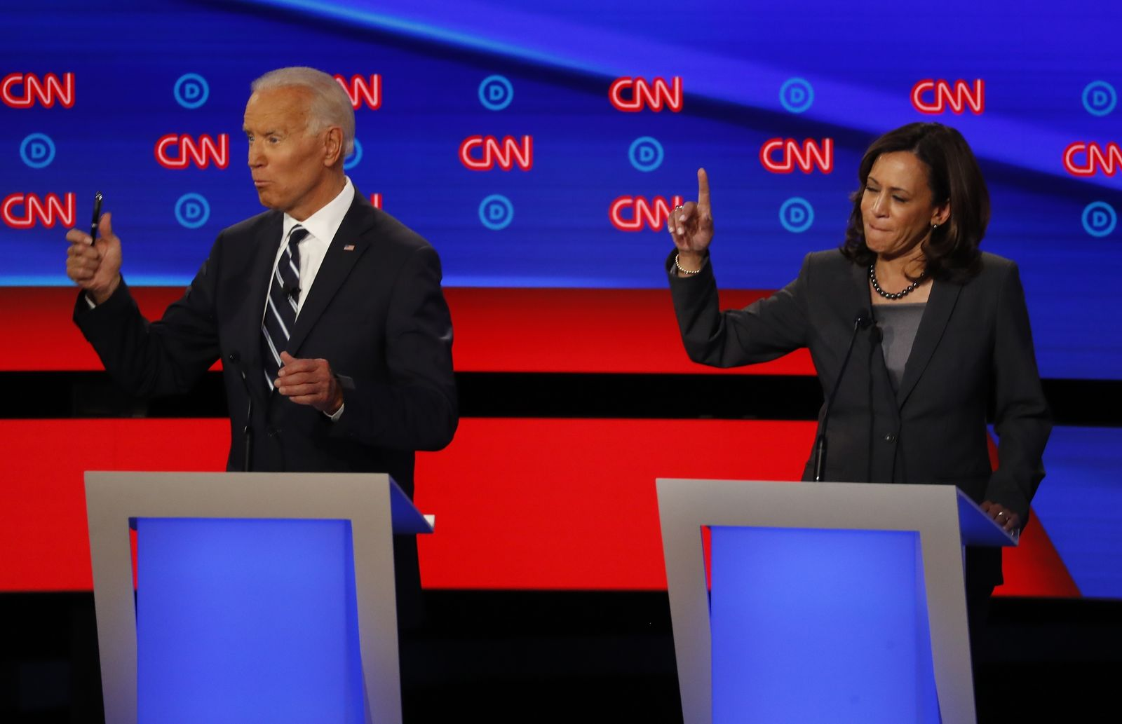 FILE - In this July 31, 2019 photo, Sen. Kamala Harris, D-Calif., and former Vice President Joe Biden participate in the second of two Democratic presidential primary debates hosted by CNN in the Fox Theatre in Detroit. (AP Photo/Paul Sancya)