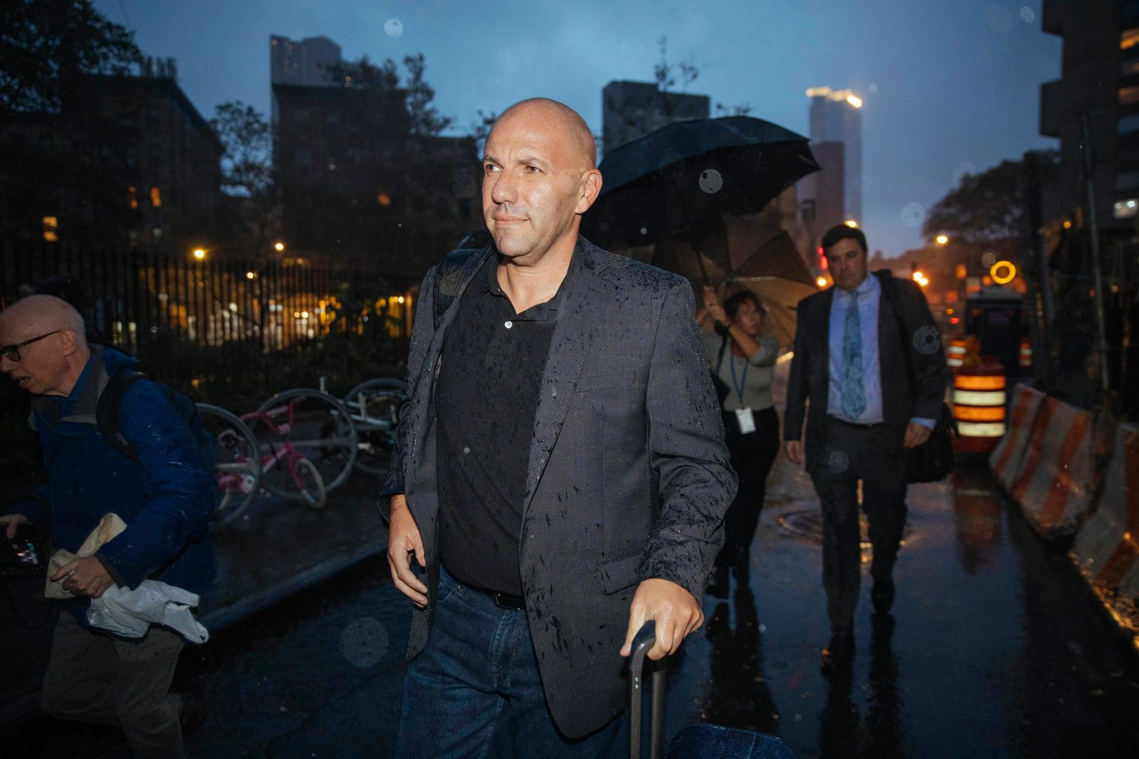 David Correia leaves Federal Court after his appearance on Wednesday, Oct. 16, 2019, in New York. Correia, a Florida man accused of conspiring with associates of Rudy Giuliani to make illegal campaign contributions made an initial court appearance Wednesday after flying to Kennedy Airport in New York City to turn himself in. (AP Photo/Kevin Hagen).