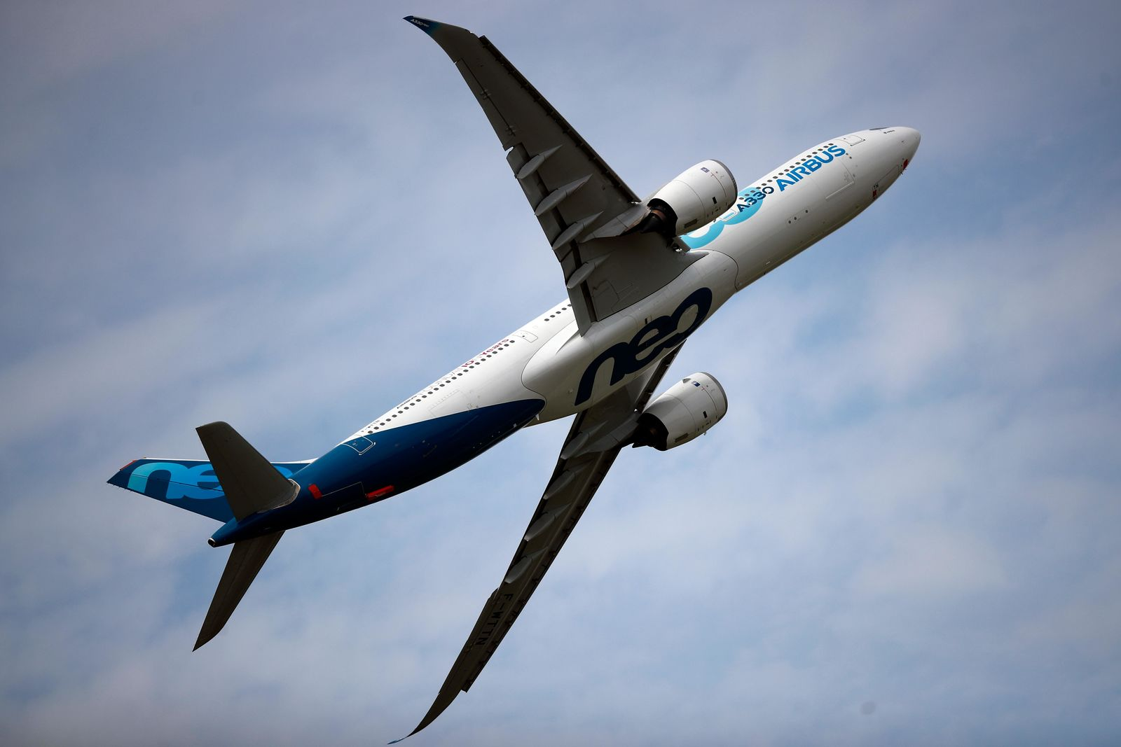 An Airbus A330 performs a demonstration flight at Paris Air Show, in Le Bourget, north east of Paris, France, Tuesday, June 18, 2019. (AP Photo/ Francois Mori)