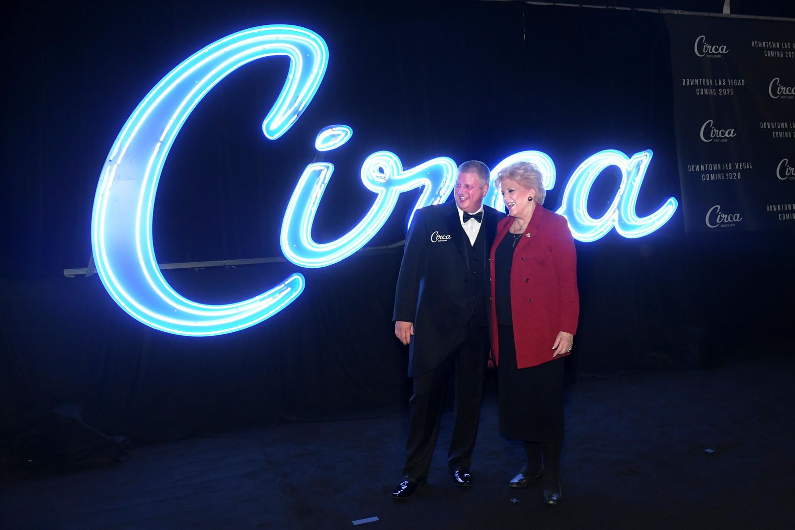 Derek Stevens and Las Vegas Mayor Carolyn Goodman pose for photos during the unveiling of Stevens' new project for Fremont Street, Circa Resort & Casino, Thursday, Jan 10, 2019, at the Downtown Las Vegas Events Center. (Sam Morris/Las Vegas News Bureau)