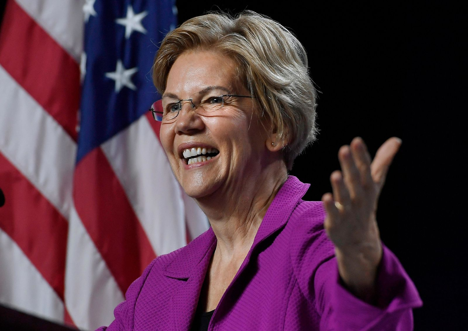 FILE- Democratic presidential candidate U.S. Sen. Elizabeth Warren, speaks to delegates during the 2019 Massachusetts Democratic Party Convention, Saturday, Sept. 14, 2019, in Springfield, Mass. (AP Photo/Jessica Hill)