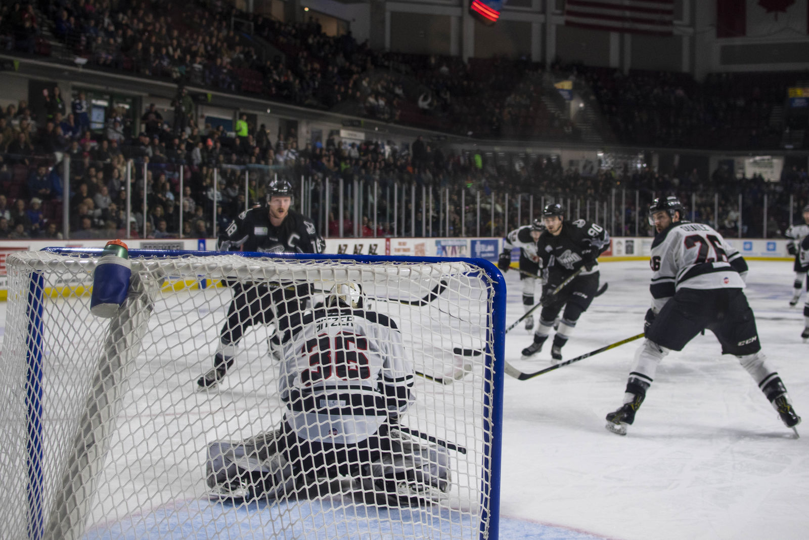 The Idaho Steelheads played the Rapid City Rush Friday night at Centurylink Arena in Boise. The Steelheads were able to pull off a three to two victory over the Rush, putting them one and one in the series. Both teams play again Saturday night at 7:10 PM in Boise. (Photos by Axel Quartarone)