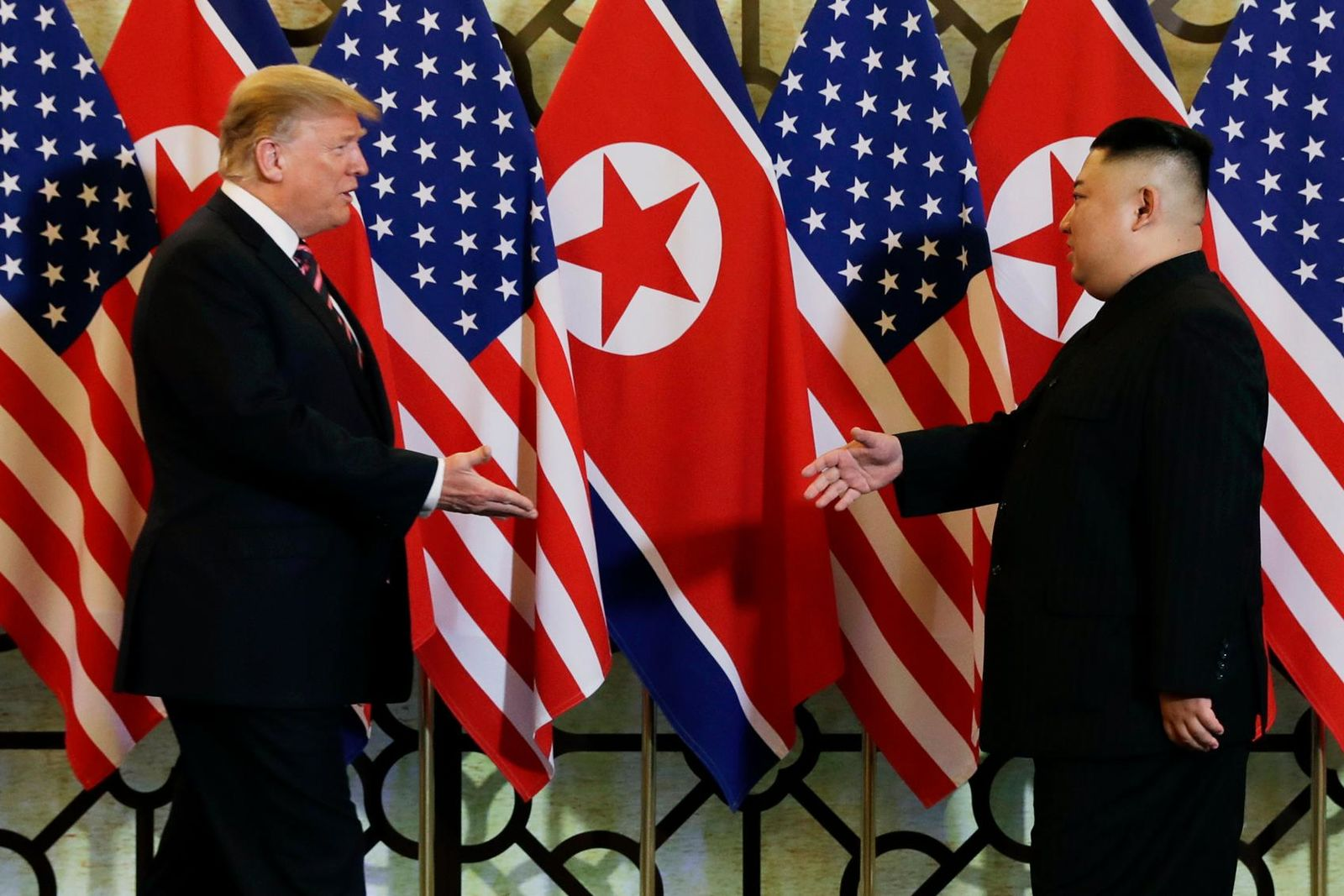 FILE - In this Feb. 27, 2019, file photo, President Donald Trump meets North Korean leader Kim Jong Un in Hanoi. (AP Photo/ Evan Vucci, File)