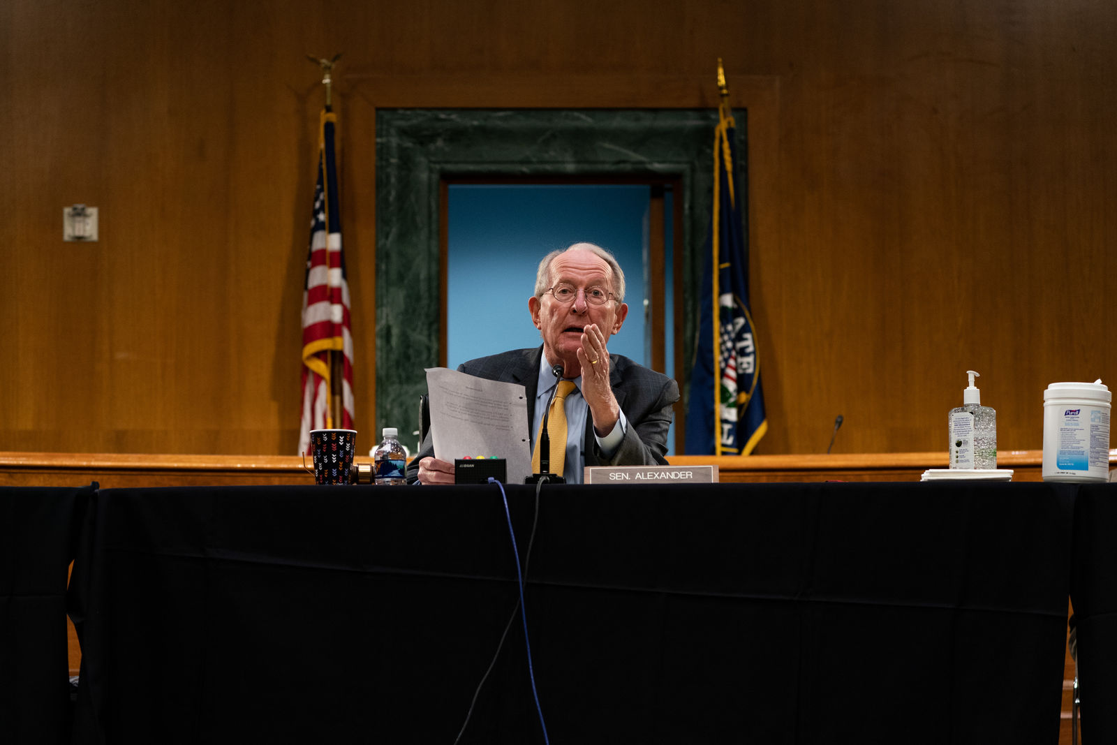 Chairman Lamar Alexander, R-Tenn., gives his closing remarks at a Senate Health Education Labor and Pensions Committee hearing on new coronavirus tests May 7th, 2020 on Capitol Hill in Washington DC. (Photo by Anna Moneymaker-Pool/Getty Images)