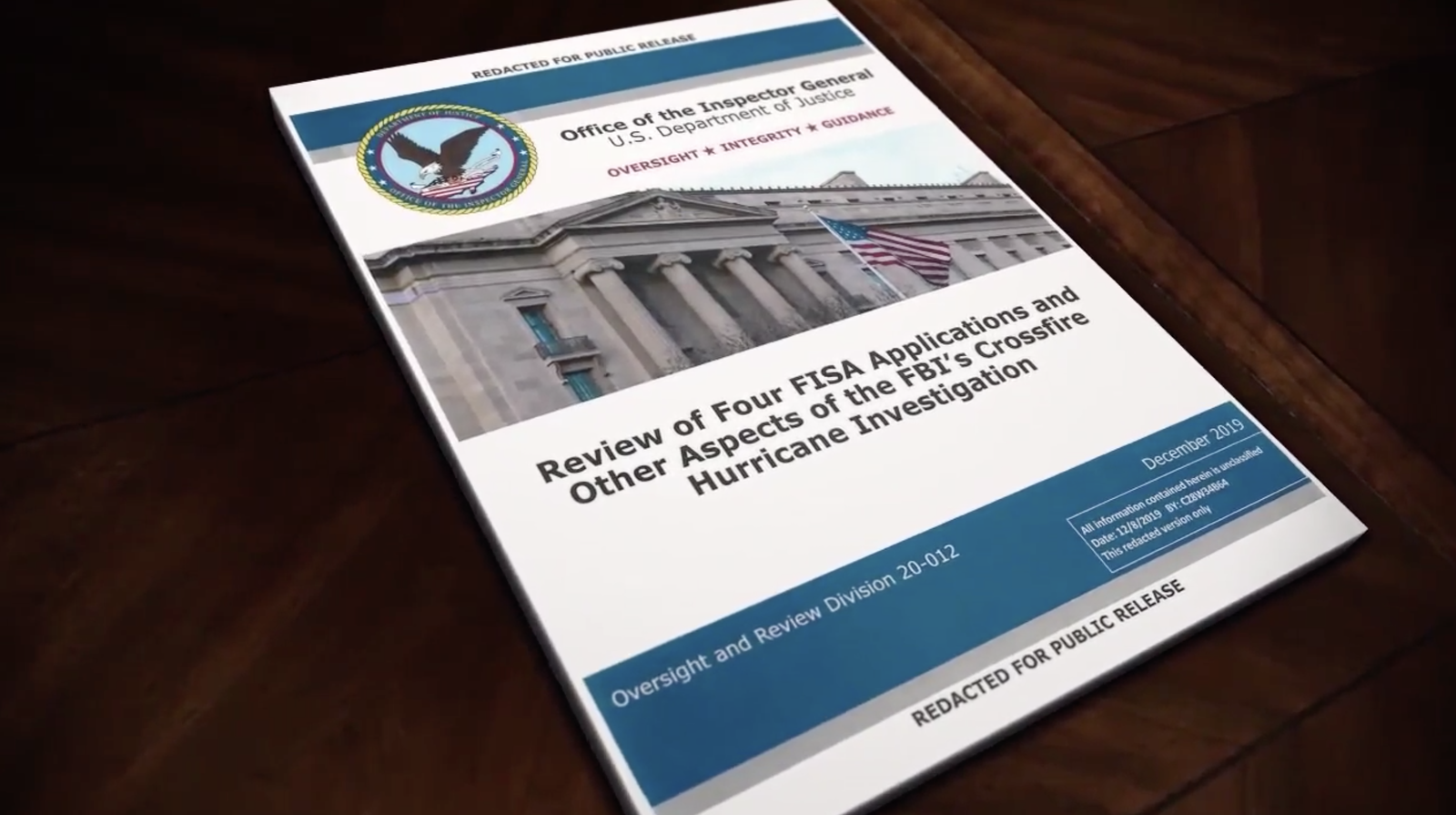 The cover page of the report issued by the Department of Justice inspector general is photographed in Washington, Monday, Dec. 9, 2019. The report on the origins of the Russia probe found no evidence of political bias, despite performance failures. (Photo: Sinclair Broadcast Group)