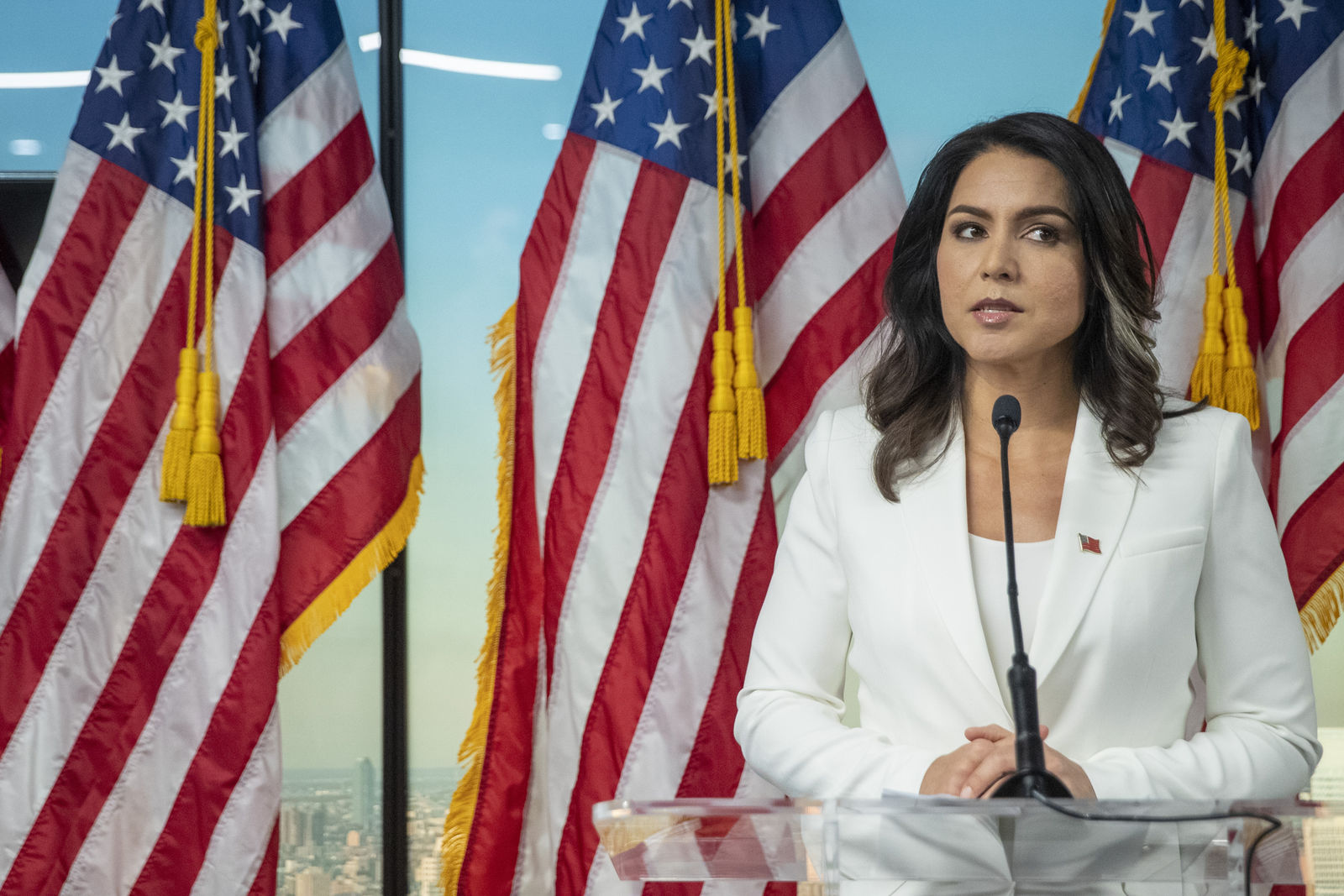 Democratic presidential candidate U.S. Rep. Tulsi Gabbard, D-Hawaii, speaks during a news conference at the 9/11 Tribute Museum, Tuesday, Oct. 29, 2019, in New York. (AP Photo/Mary Altaffer)