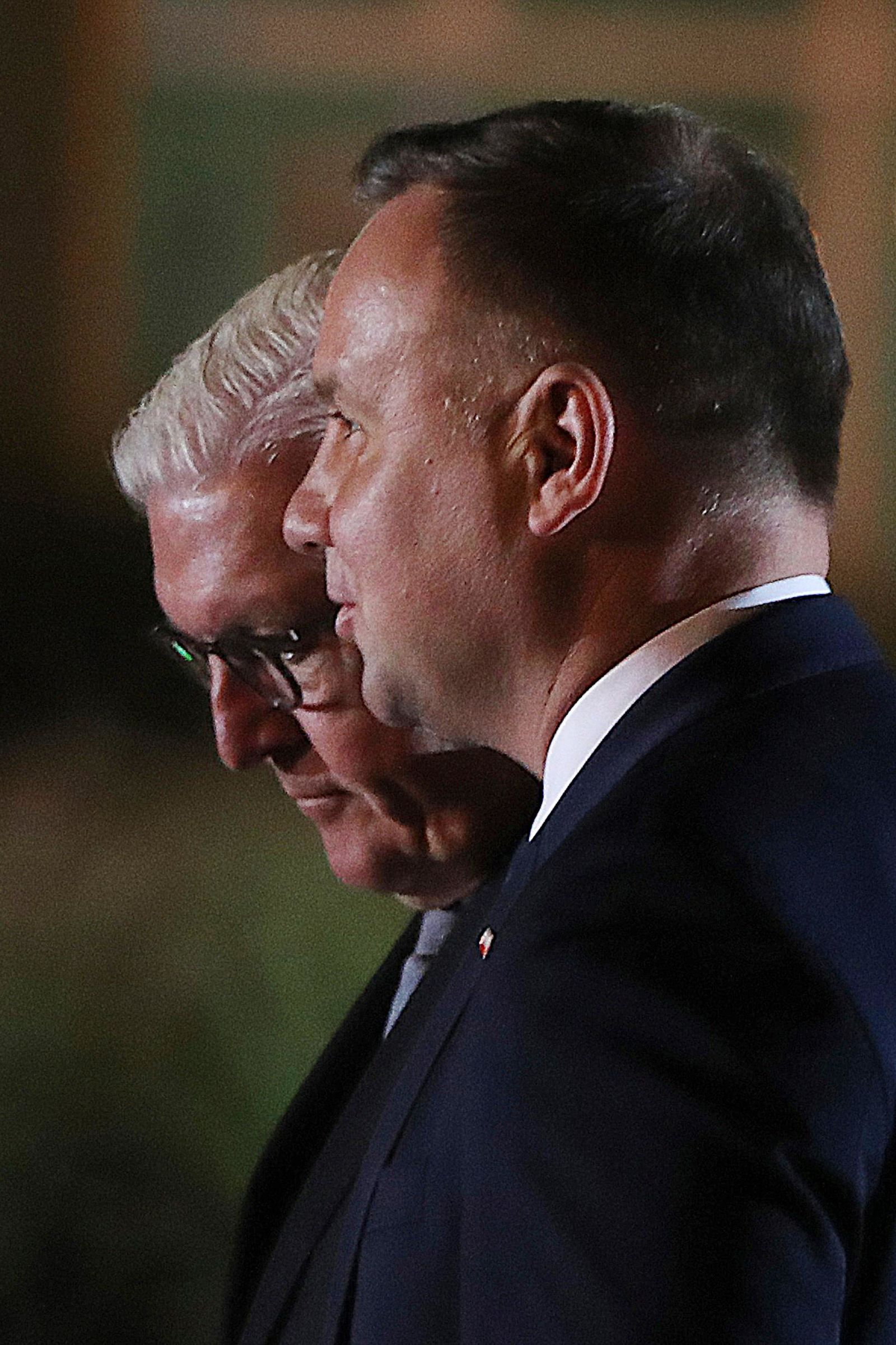 German President Frank-Walter Steinmeier, left, and Polish President Andrzej Duda attend a ceremony marking the 80th anniversary of the start of World War II, in Wielun, Poland, Sunday, Sept. 1, 2019. The ceremony started at 4.40 a.m., the exact hour that, according to survivors, the war's first bombs fell, killing civilians (AP Photo/Czarek Sokolowski)