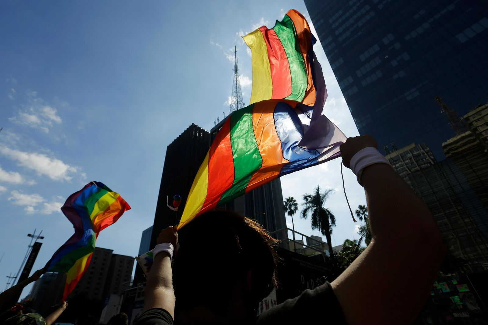 Revelers wave rainbow flags during the annual gay pride parade along Paulista avenue in Sao Paulo, Brazil, Sunday, June 23, 2019. (AP Photo/Nelson Antoine)