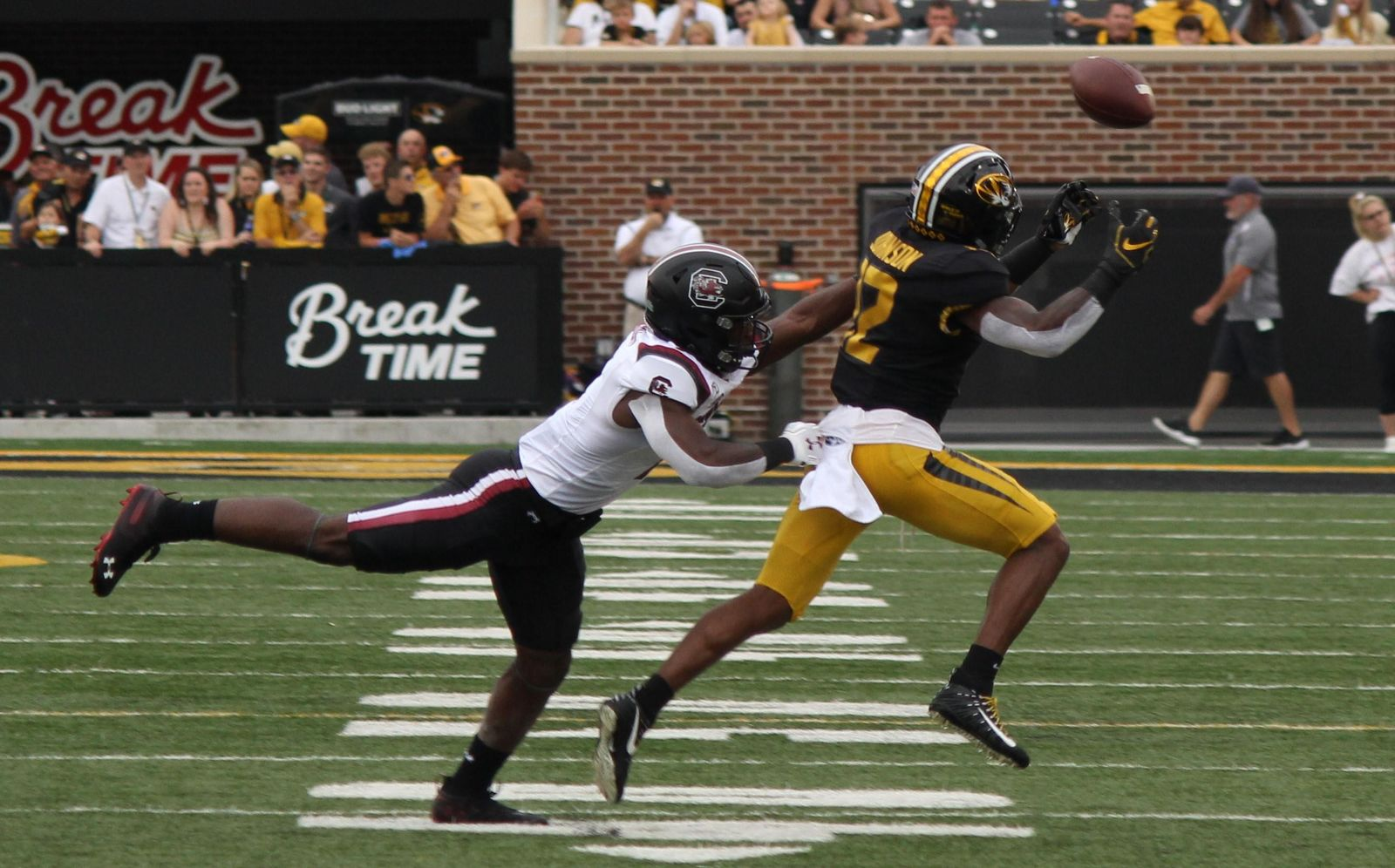 Missouri wide receiver Johnathon Johnson attempts to haul in a throw from Kelly Bryant{ }Saturday afternoon at Faurot Field in Columbia during the Tigers' 34-14 win over South Carolina. (Noah Brown/KRCG 13)