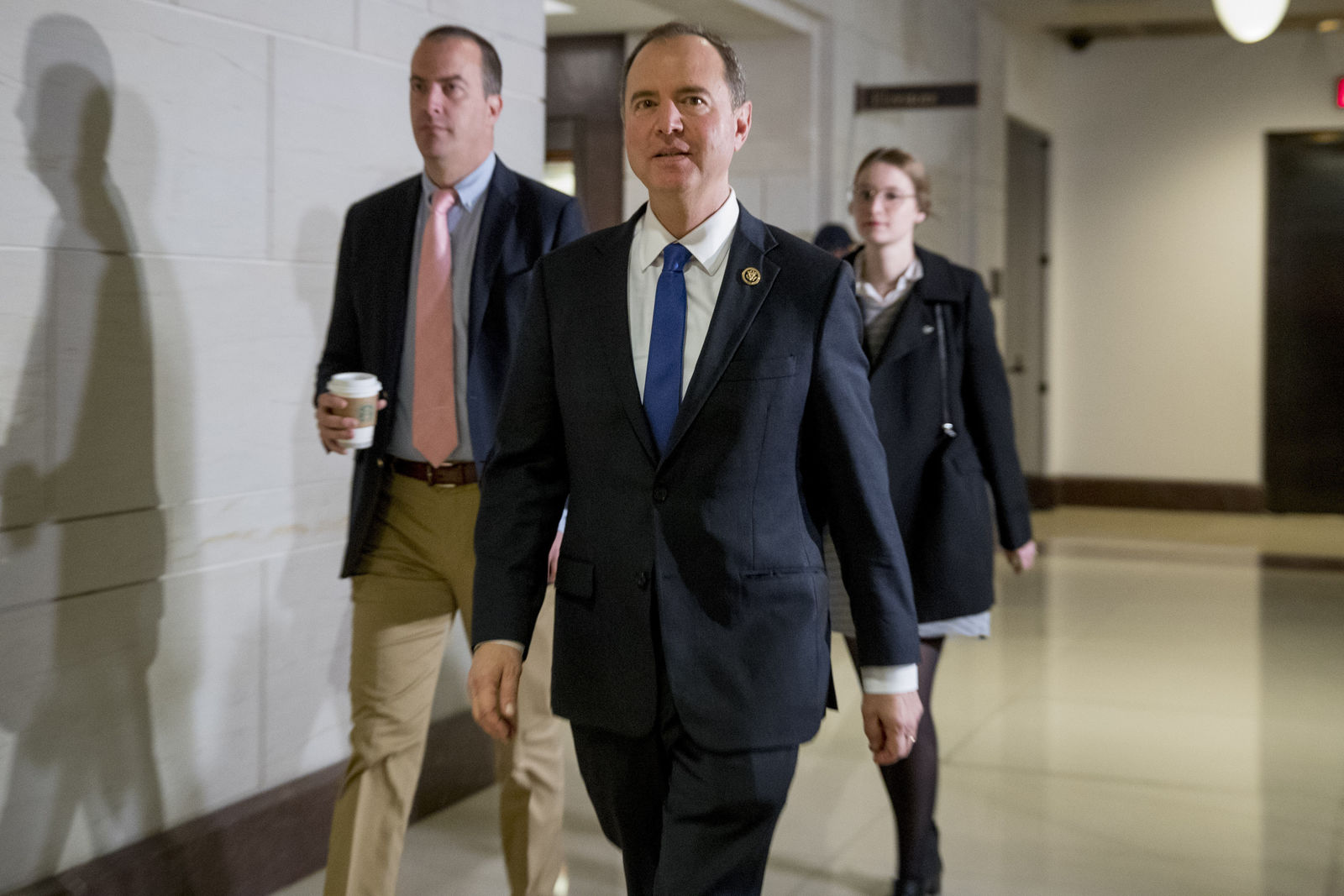 House Intelligence Committee Chairman Rep. Adam Schiff, of Calif., center, arrives for a closed door meeting where Ambassador William Taylor, Jr. will testify as part of the House impeachment inquiry into President Donald Trump, on Capitol Hill in Washington, Tuesday, Oct. 22, 2019. (AP Photo/Andrew Harnik)