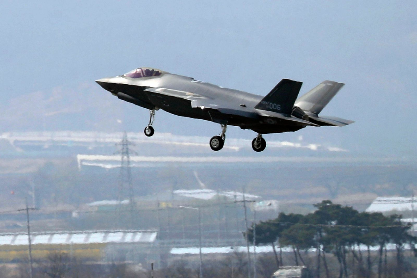 FILE - In this March 29, 2019, photo, a U.S. F-35A fighter jet prepares to land at Chungju Air Base in Chungju, South Korea. (Kang Jong-min/Newsis via AP)
