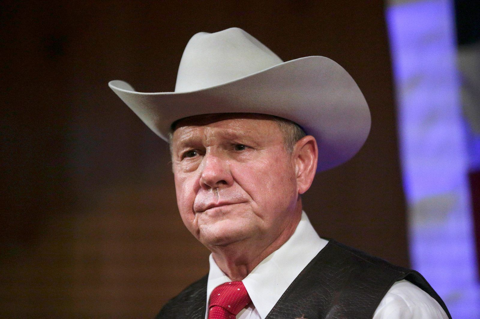 In this Sept. 25, 2017 file photo, former Alabama Chief Justice and U.S. Senate candidate Roy Moore speaks at a rally in Fairhope, Ala. (AP Photo/Brynn Anderson, File)