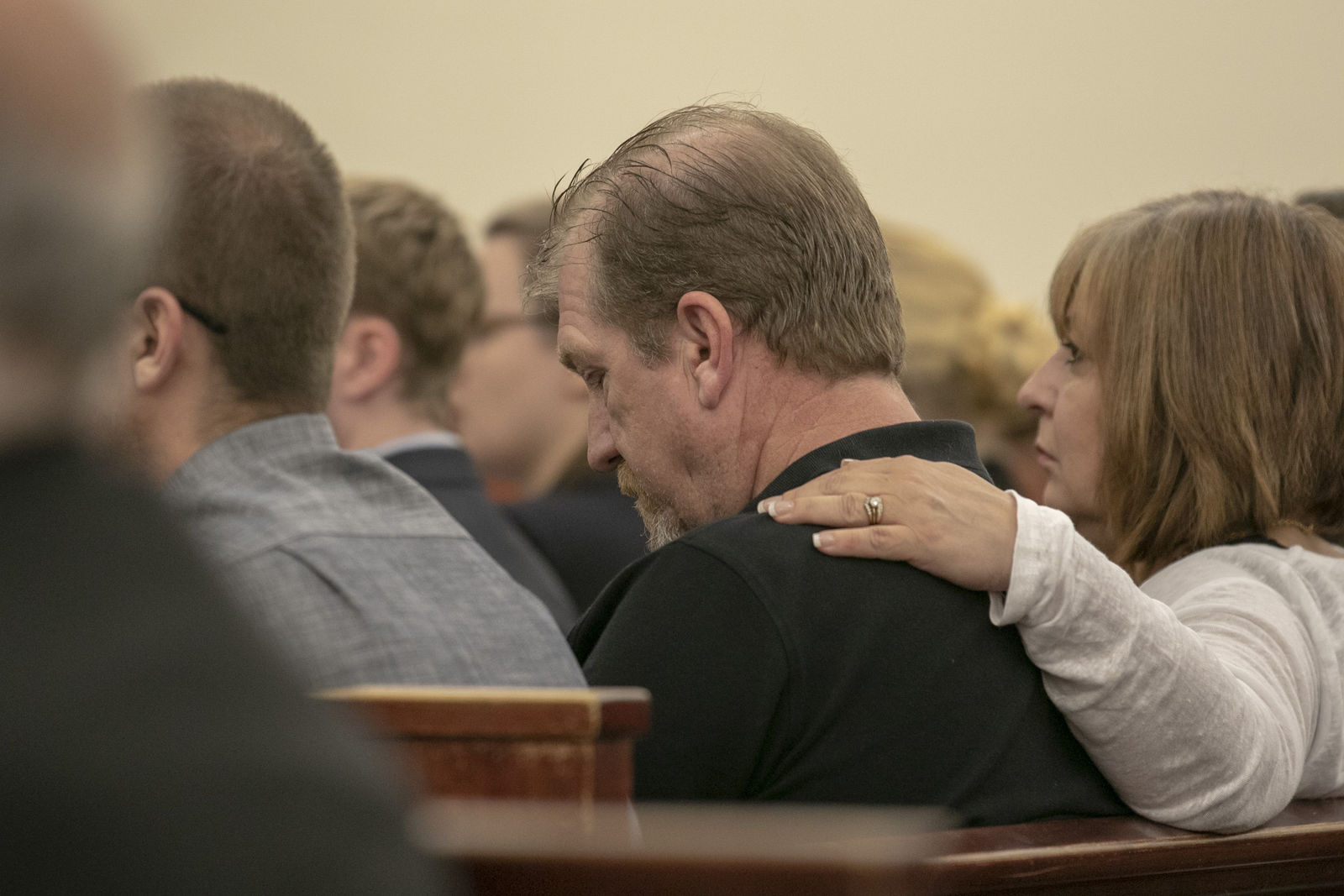 Tim Jones Sr., and his wife, Julie Jones listen as 11th Circuit Solicitor Rick Hubbard delivers closing arguments, pushing for the death penalty, during the sentencing phase of the trial of Timothy Jones Jr. in Lexington, S.C. on Thursday, June 13, 2019.  Jones, Jr. was found guilty of killing his five young children in 2014. (Tracy Glantz/The State via AP, Pool)