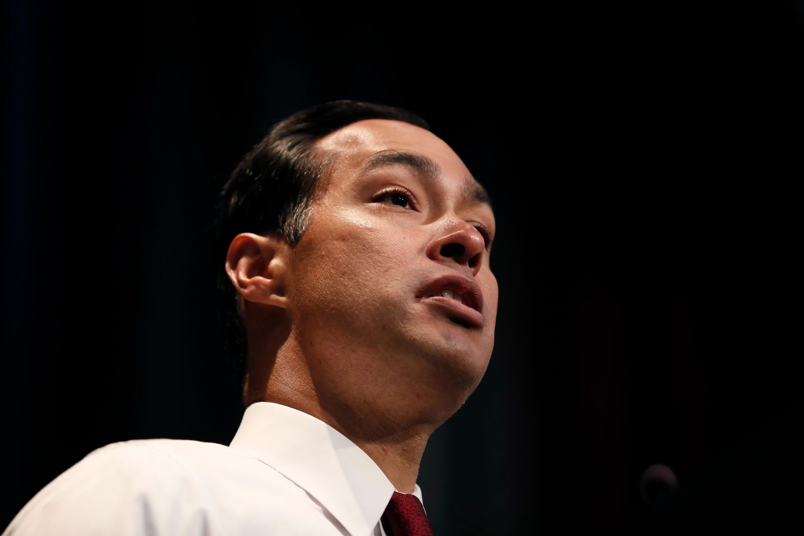 Democratic presidential candidate former U.S. Secretary of Housing and Urban Development Julian Castro speaks at the Iowa Federation of Labor convention, Wednesday, Aug. 21, 2019, in Altoona, Iowa. (AP Photo/Charlie Neibergall)
