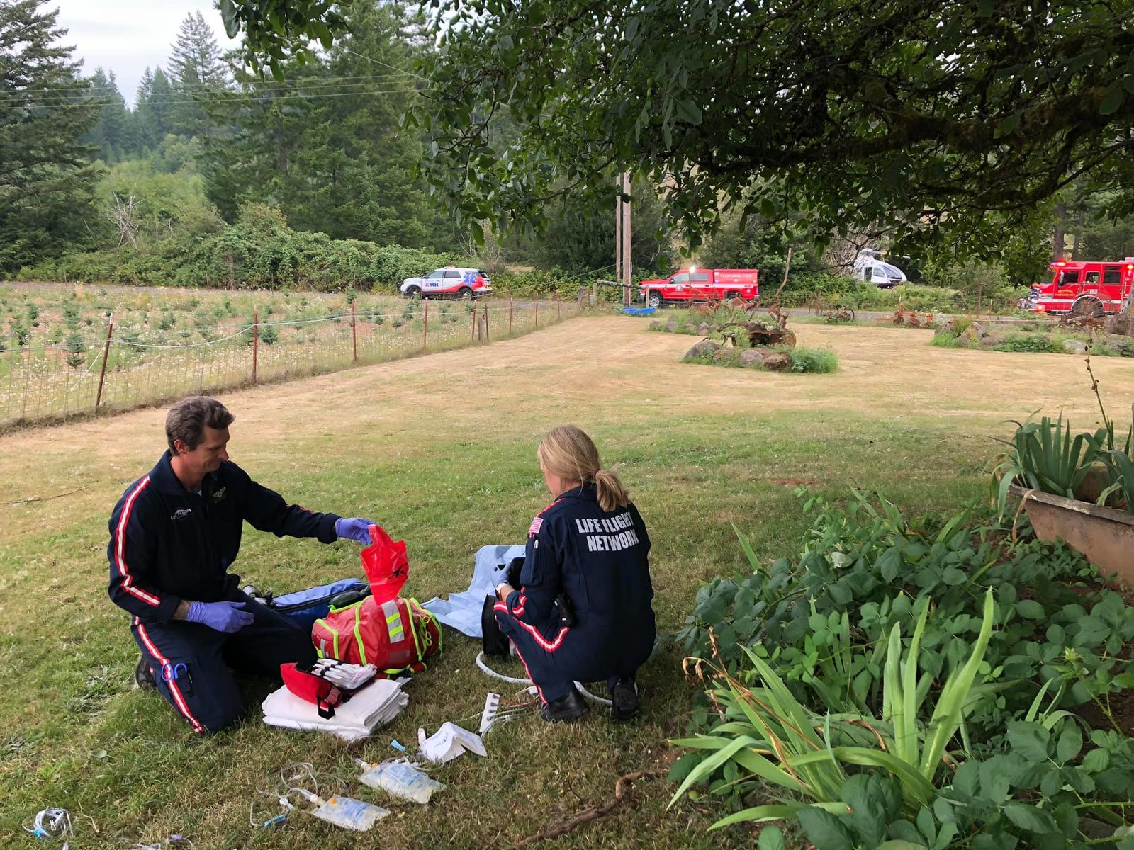 Estacada firefighters rescued a person on Aug. 20, 2019 who had been stuck in a septic tank for multiple days. Photo courtesy Estacada Rural Fire District No. 69