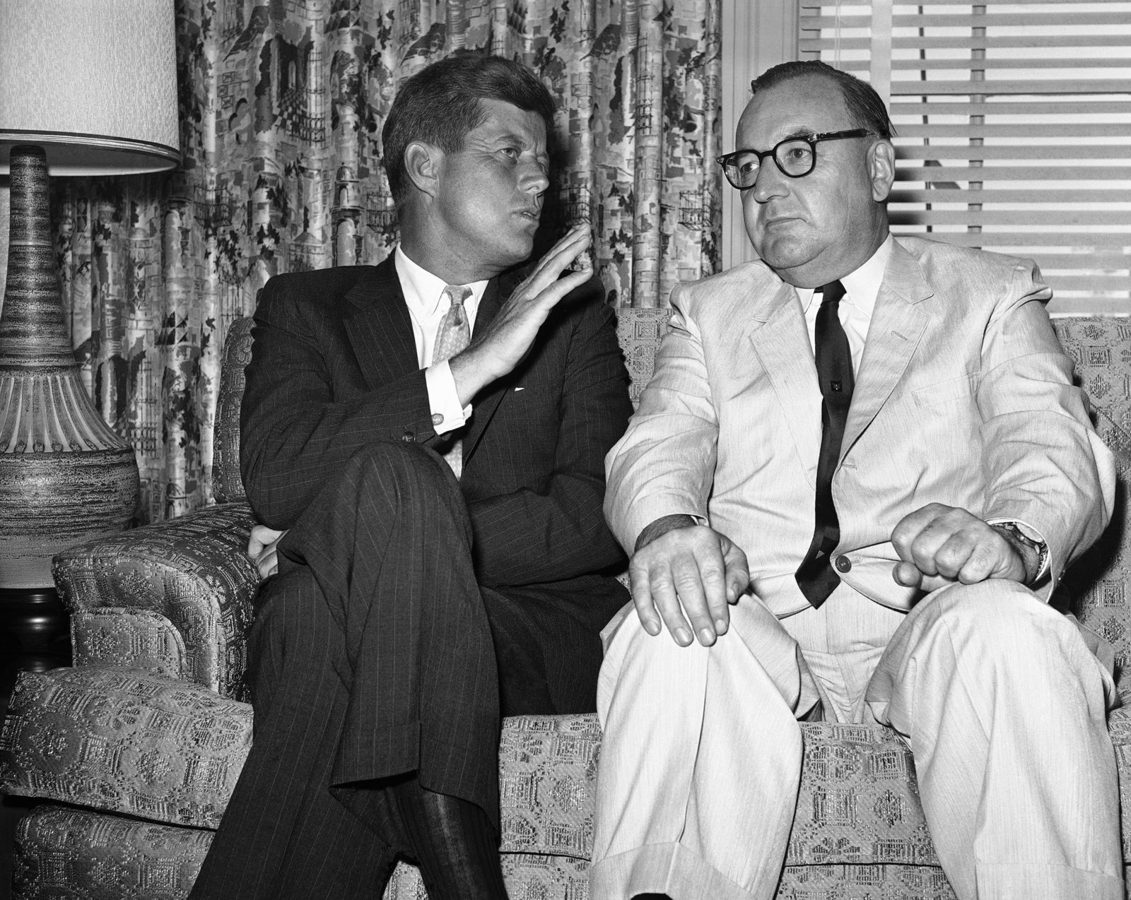 FILE - In this July 10, 1960, file photo, Sen. John F. Kennedy of Massachusetts gestures during his meeting with California Gov. Edmund G. (Pat) Brown in Los Angeles. .   (AP Photo, File)