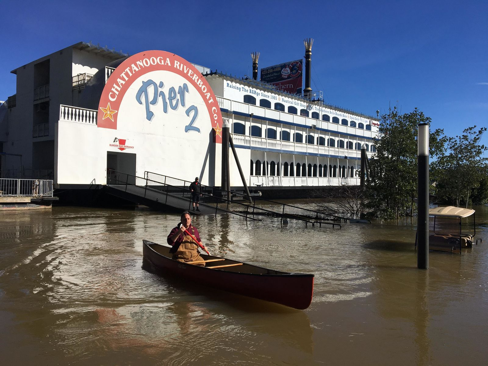 Flood damage in 2019 at the Southern Belle Riverboat. Staff workers had to canoe to work. Jonathan Reinert, the general manager, says they've been dealing with flooding issues for years. (Image: Jonathan Reinert)