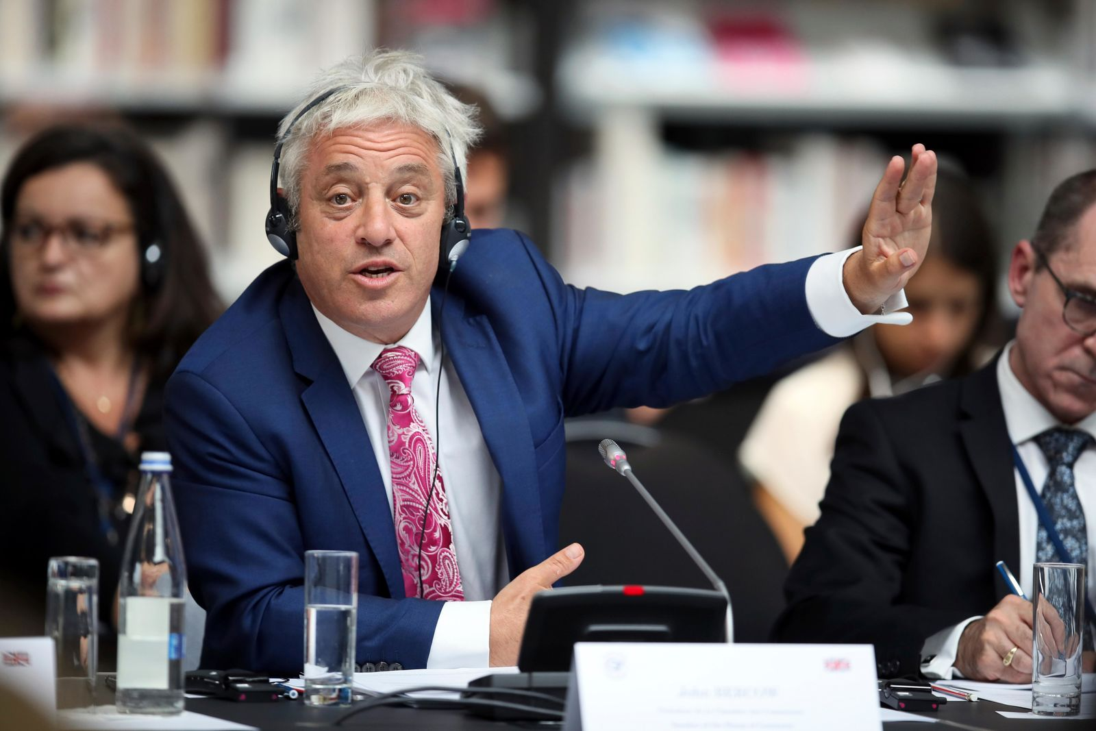 FILE - In this Friday, Sept. 6, 2019 file photo, Speaker of the House of Commons John Bercow gestures during a meeting at the G7 parliaments summit, in Brest, western France. A colorful era in British parliamentary history is coming to a close with Speaker of the House John Bercow's abrupt announcement Monday, Sept. 9, 2019 that he will leave his influential post by the end of October. (AP Photo/David Vincent, file)