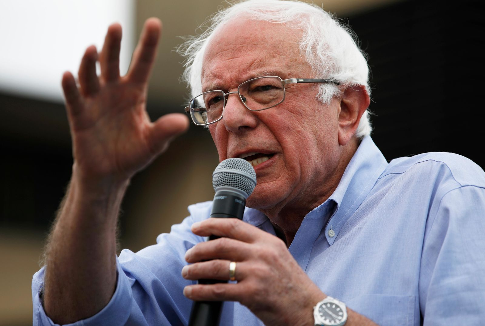 FILE - In this Aug. 11, 2019, file photo, Democratic presidential candidate Sen. Bernie Sanders, I-Vt., speaks at the Iowa State Fair in Des Moines, Iowa. (AP Photo/John Locher, File)