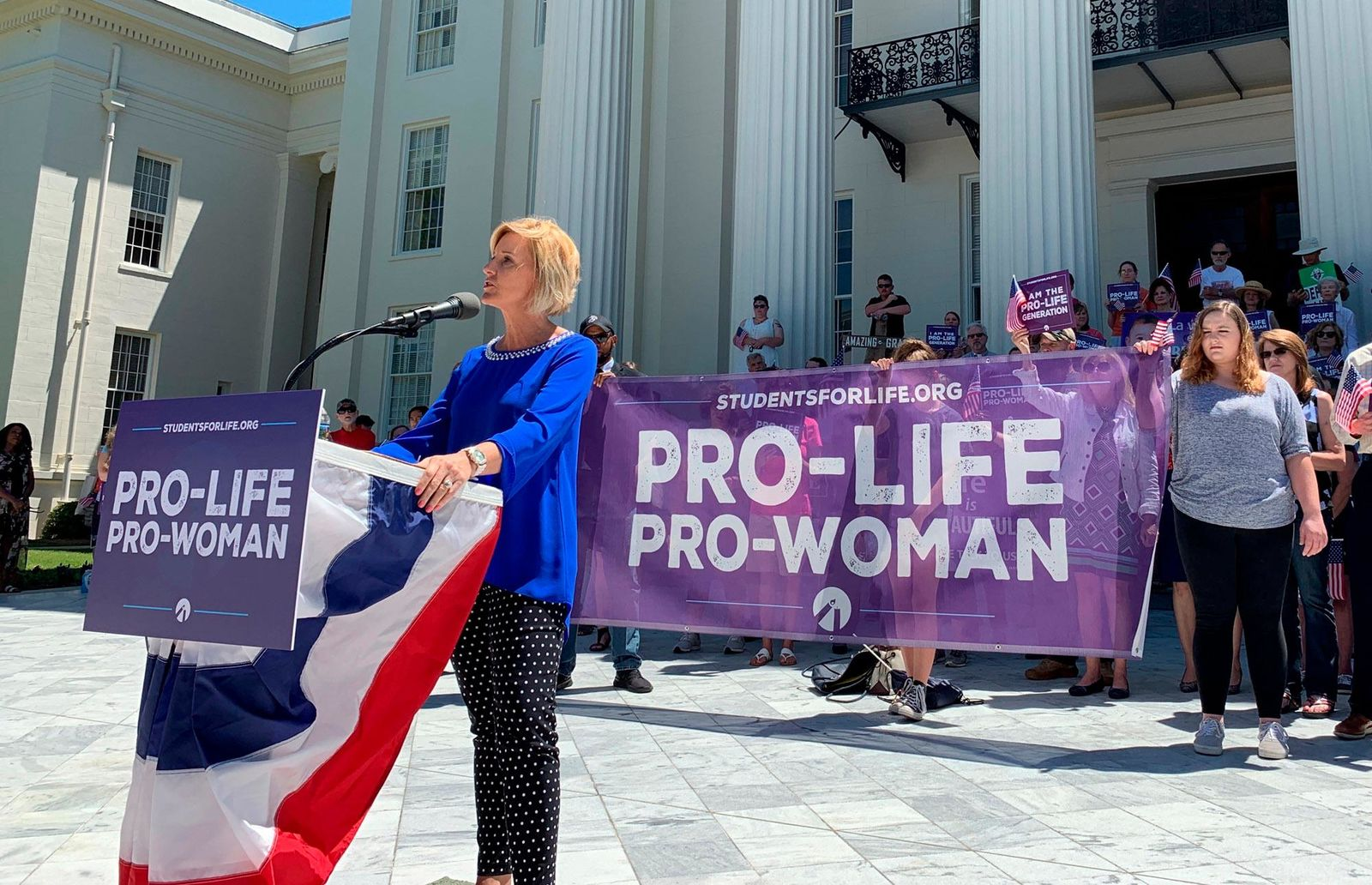 FILE - In this Wednesday, May 22, 2019, file photo, Beck Gerritson, president of Eagle Forum of Alabama, speaks at an anti-abortion rally outside the Capitol in Montgomery, Ala. (AP Photo/Kim Chandler, File)