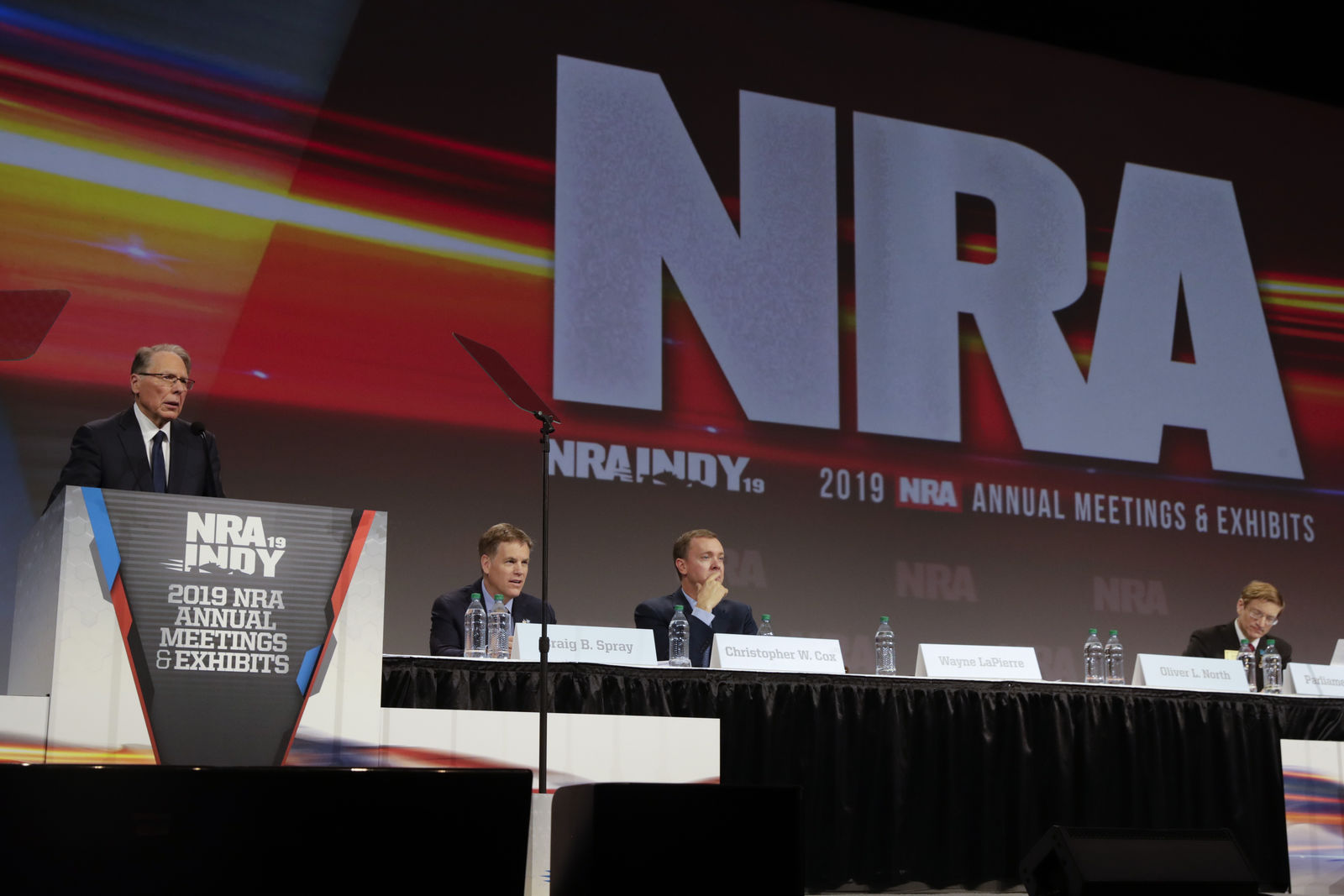 National Rifle Association Executive Vice President Wayne LaPierre speaks at the NRA Annual Meeting of Members in Indianapolis, Saturday, April 27, 2019. On Saturday, retired Lt. Col. Oliver North has announced that he will not serve a second term as president of the NRA amid inner turmoil in the gun-rights group. (AP Photo/Michael Conroy)