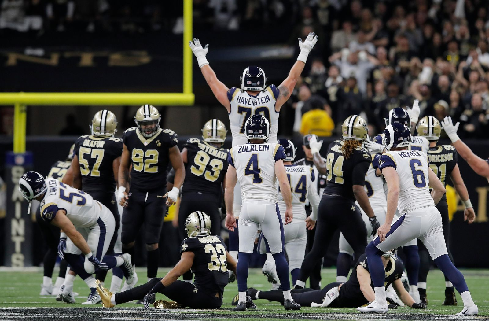 FILE - Los Angeles Rams kicker Greg Zuerlein reacts after his game-winning field goal in overtime of the NFL football NFC championship game against the New Orleans Saints, Sunday, Jan. 20, 2019, in New Orleans. The Rams won 26-23. (AP Photo/Carolyn Kaster)