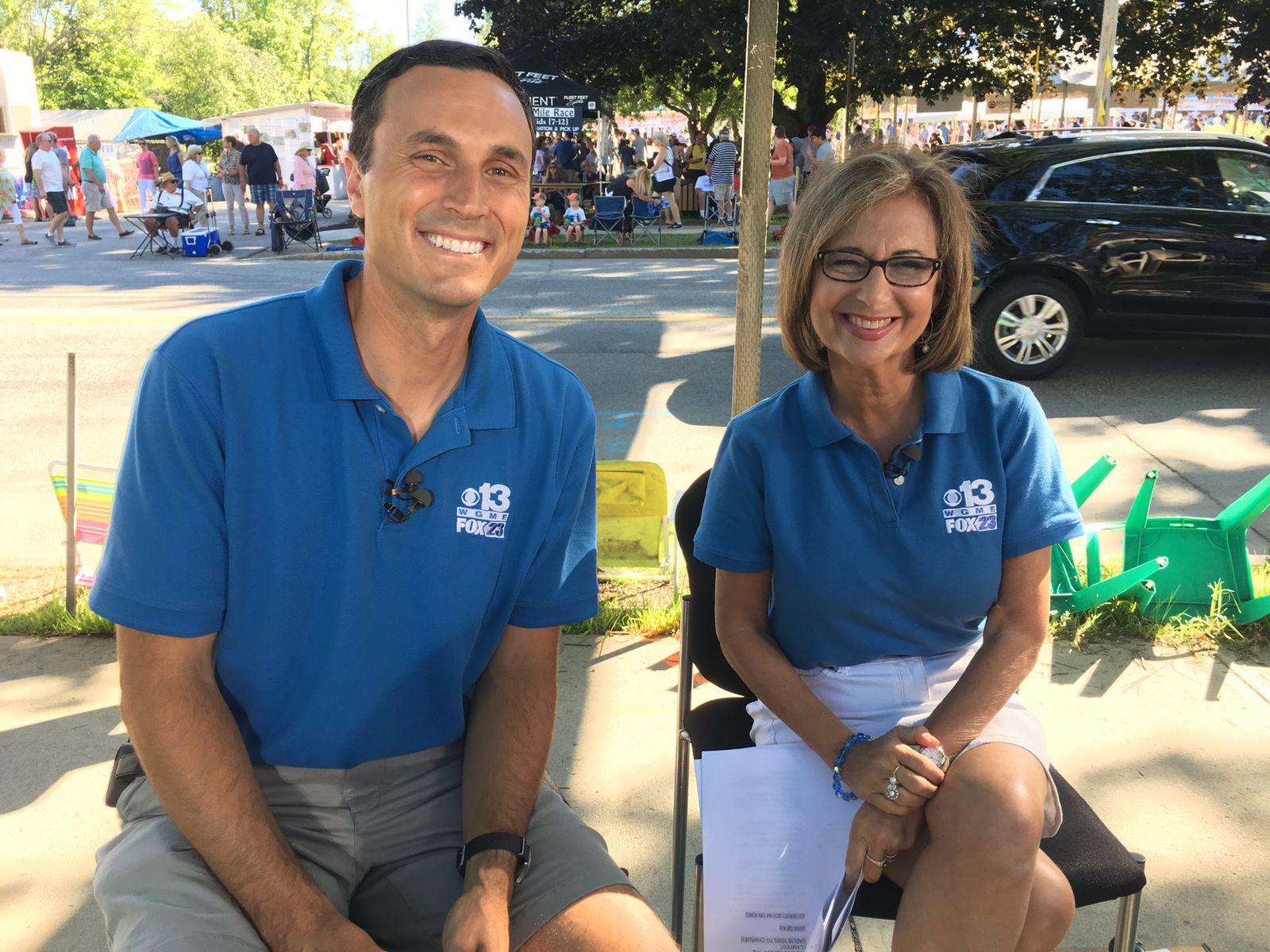 CBS 13 Chief Meteorologist Charlie Lopresti and Kim Block at Clam Fest in 2018 (WGME)