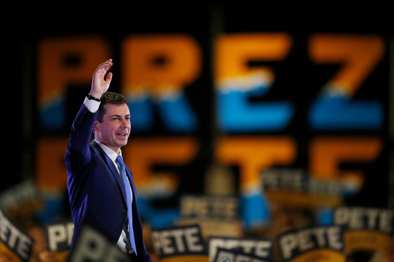 Democratic presidential candidate Pete Buttigieg speaks at a campaign rally late Saturday, Feb. 22, 2020, in Denver. (AP Photo/David Zalubowski)