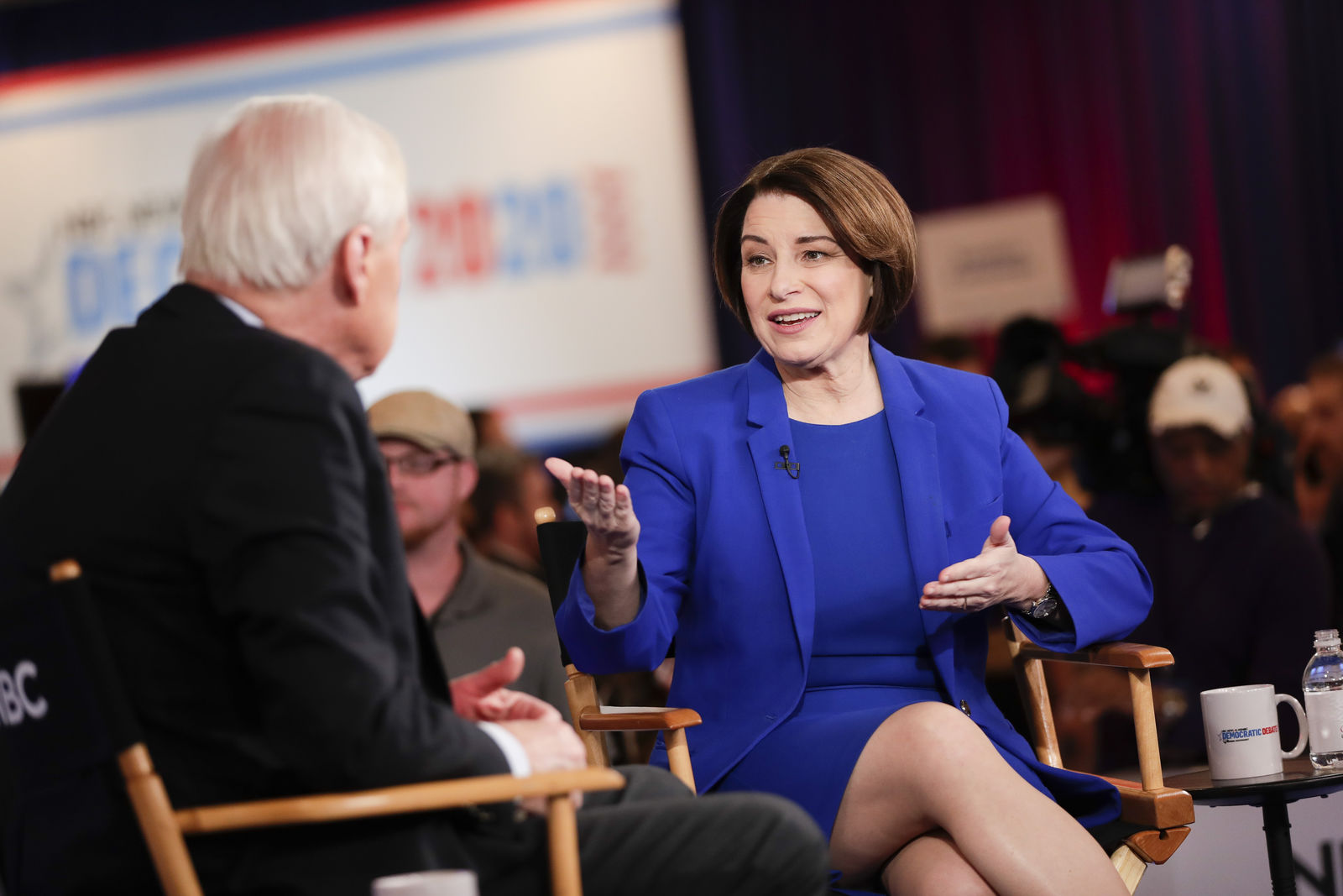 Democratic presidential candidate, Sen. Amy Klobuchar, D-Minn., is interviewed in the spin room after a Democratic presidential primary debate Wednesday, Feb. 19, 2020, in Las Vegas, hosted by NBC News and MSNBC. (AP Photo/Matt York)